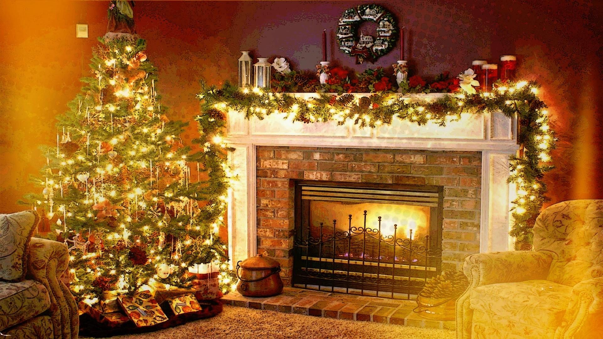 fond d'écran : intérieur, arbre de noël, cheminée, vacances