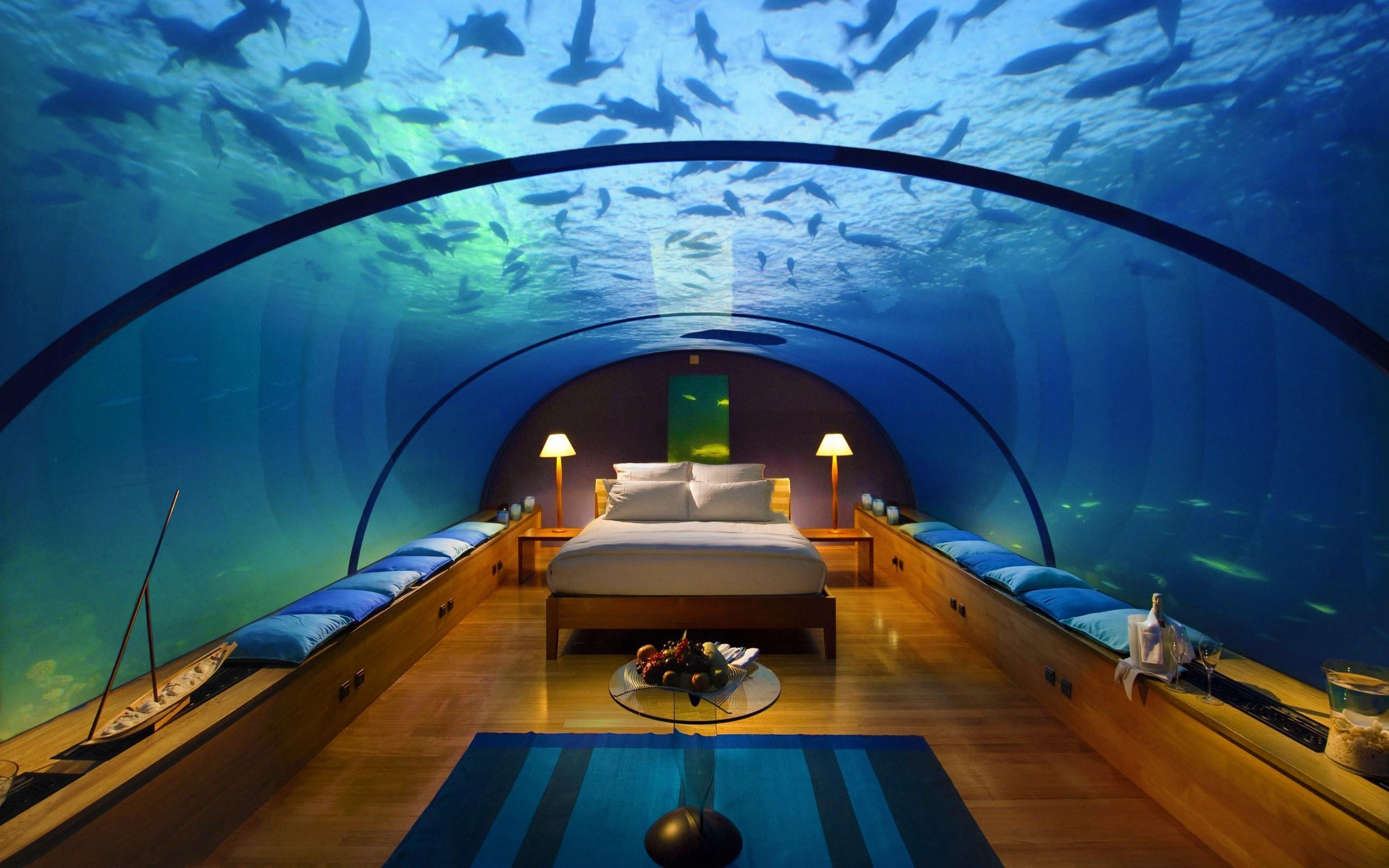 Fond d 39 cran int rieur lit un h tel piscine sous marin chambre aquarium capture d 39 cran for Hotel avec piscine dans la chambre