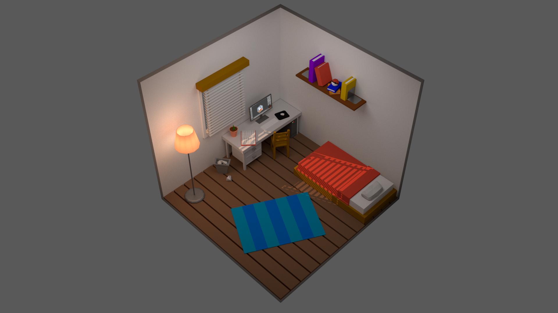 Fond d écran isométrique chambre lit bureau ordinateur