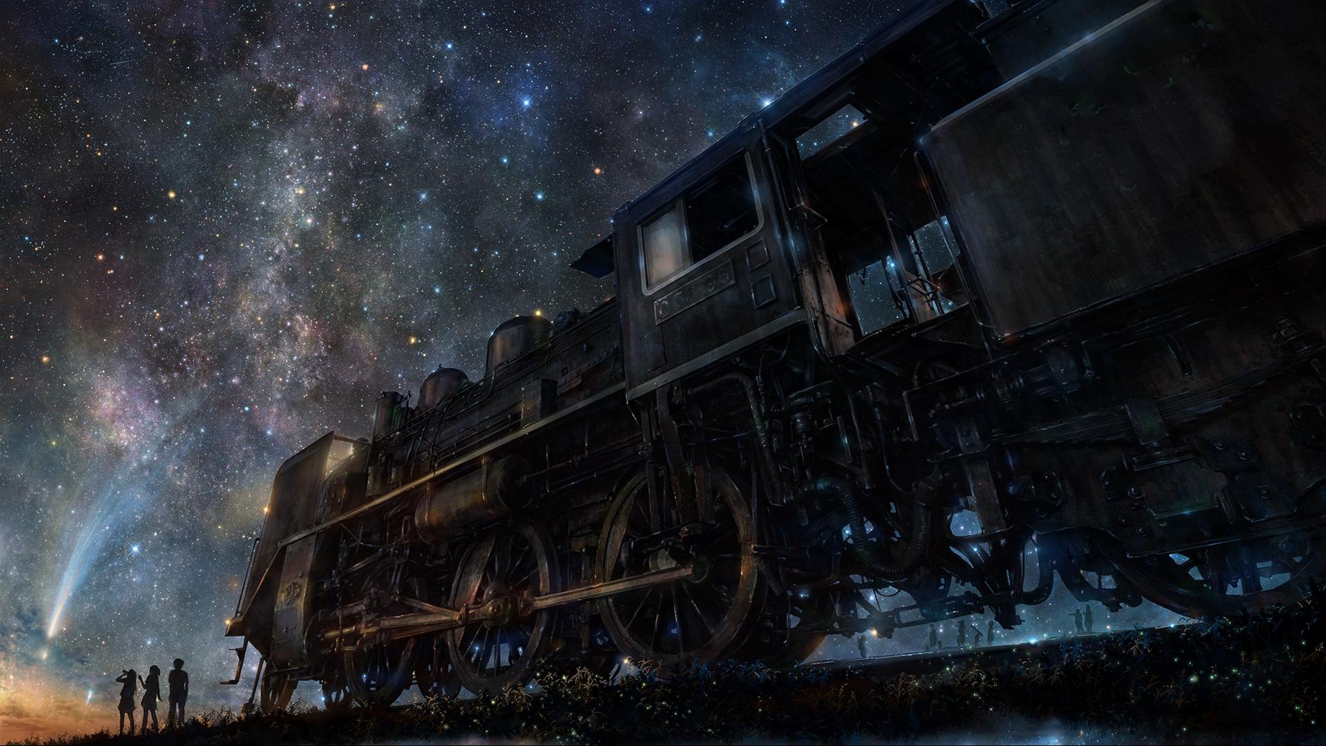 wallpaper iy tujiki train anime starry night 1920x1080