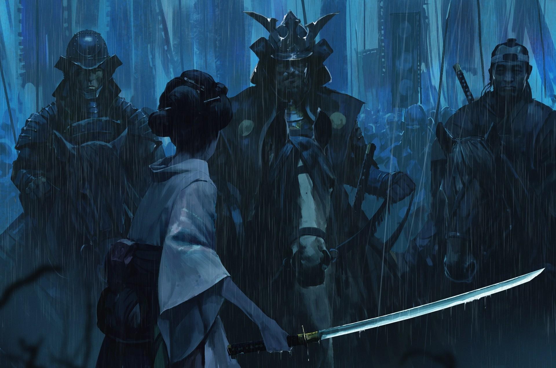 Wallpaper Katana Samurai Army Geisha Rain Armor