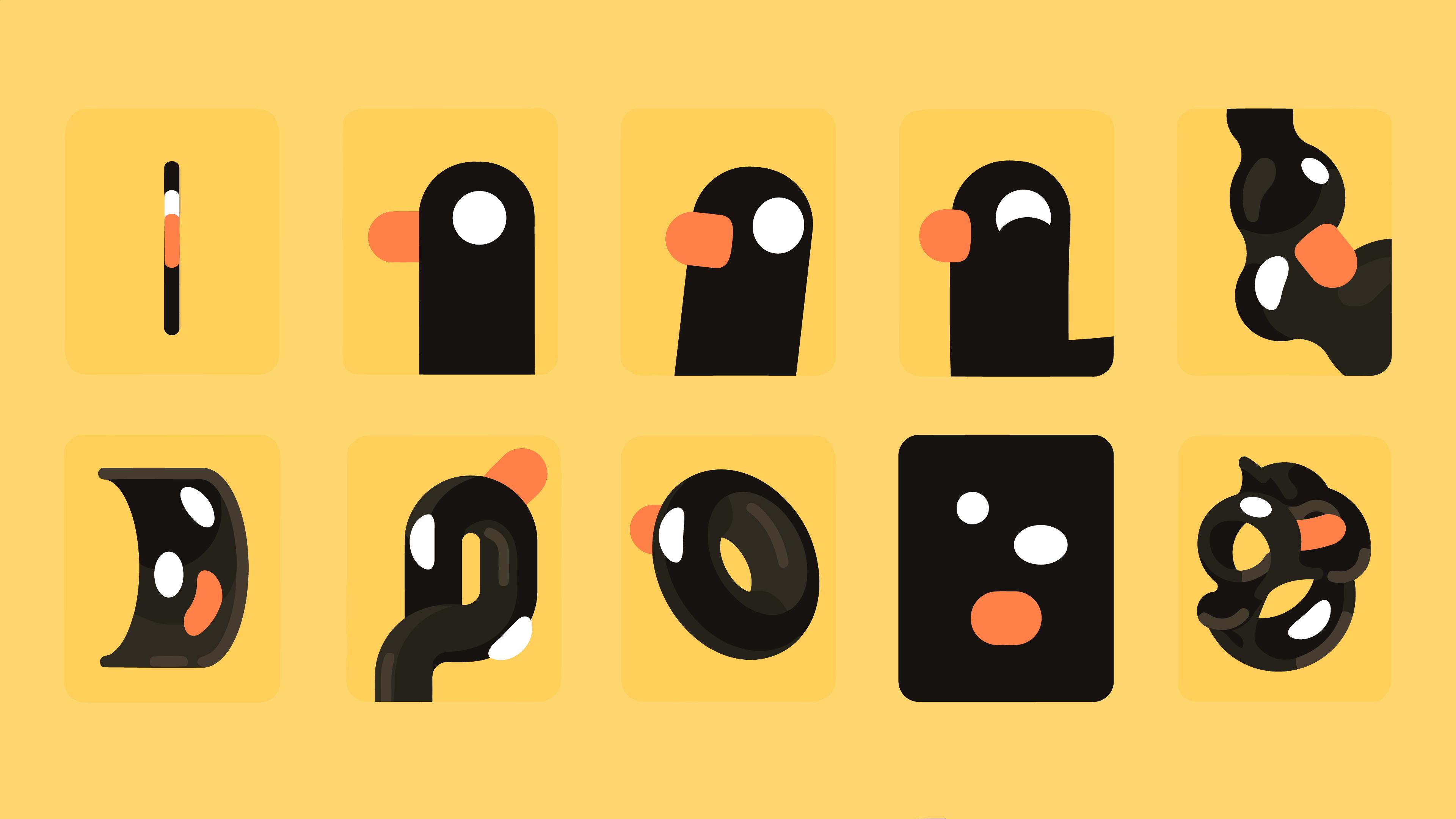 Wallpaper Kurzgesagt Duck Abstract Yellow Background