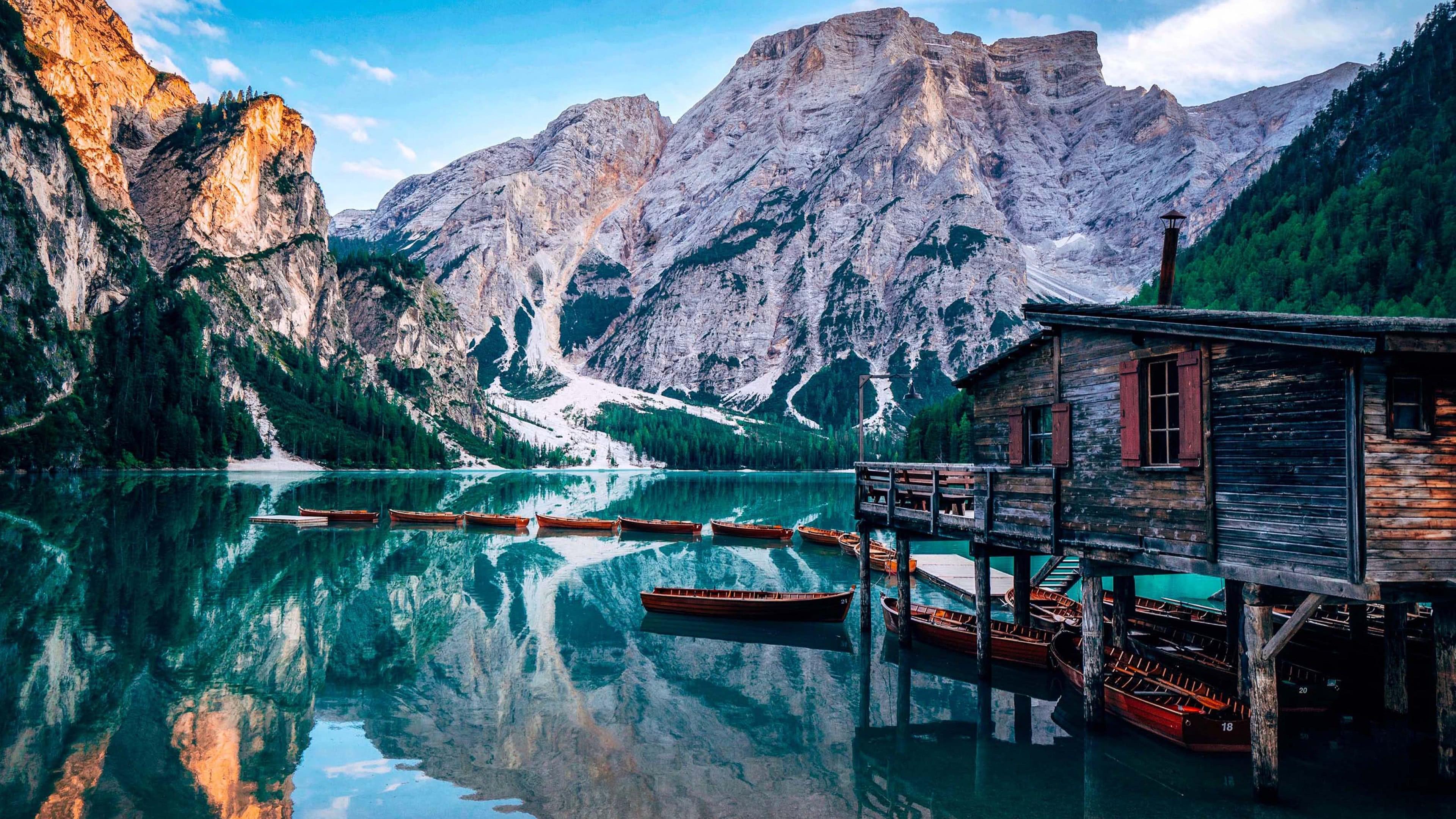 Wallpaper Lake House Boat Mountain Pass Reflection