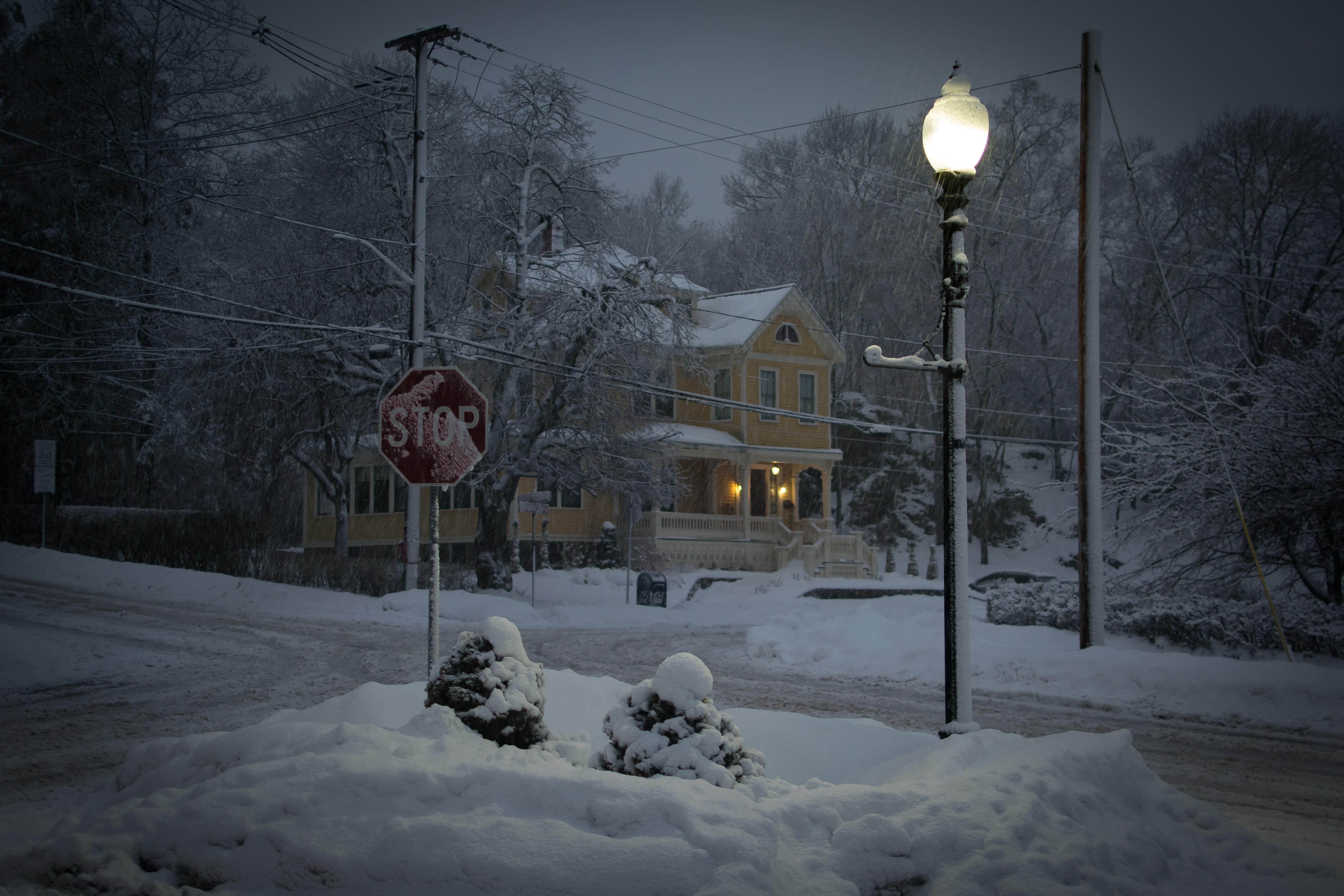 Wallpaper Lamp Street Light Melrose Ice Night Dark