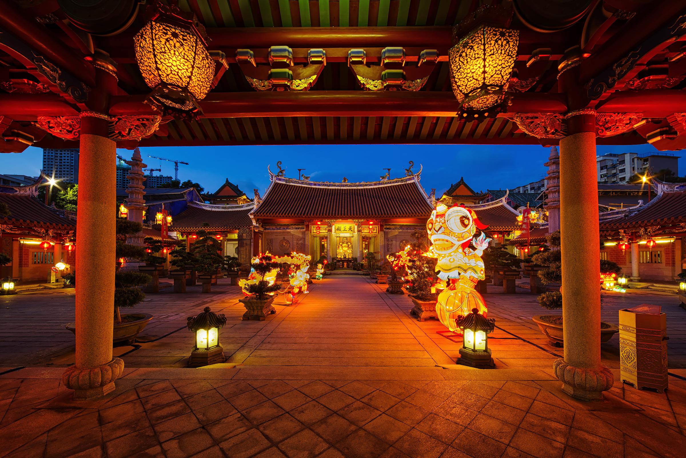 デスクトップ壁紙 ランドマーク 中国建築 神社 寺院 点灯 夜