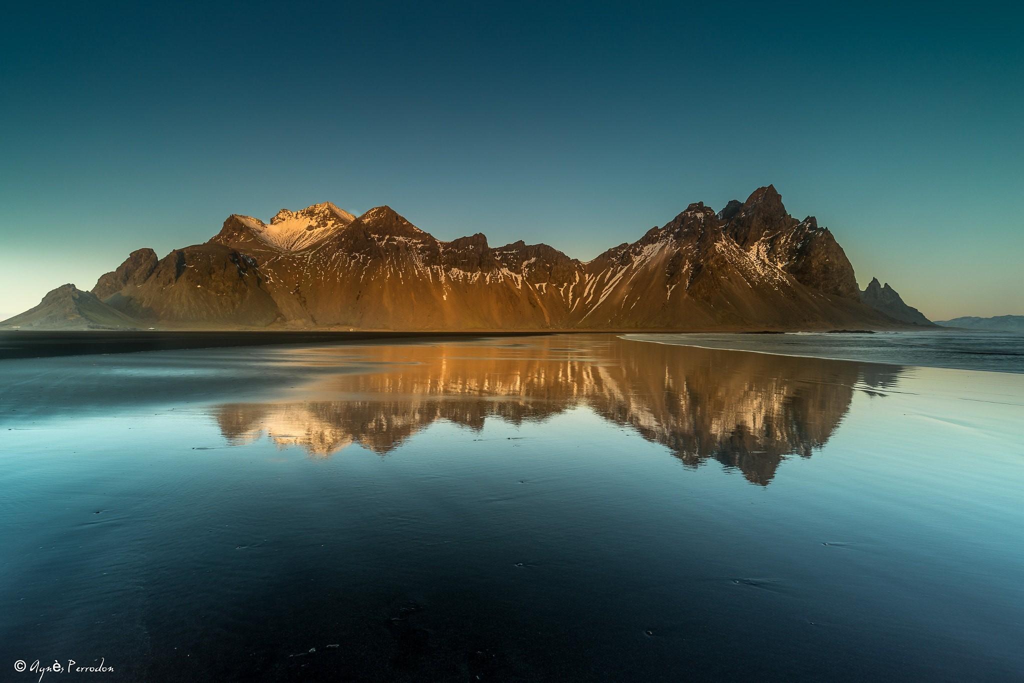 Обои берег, море, Vestrahorn Islande. Природа foto 12