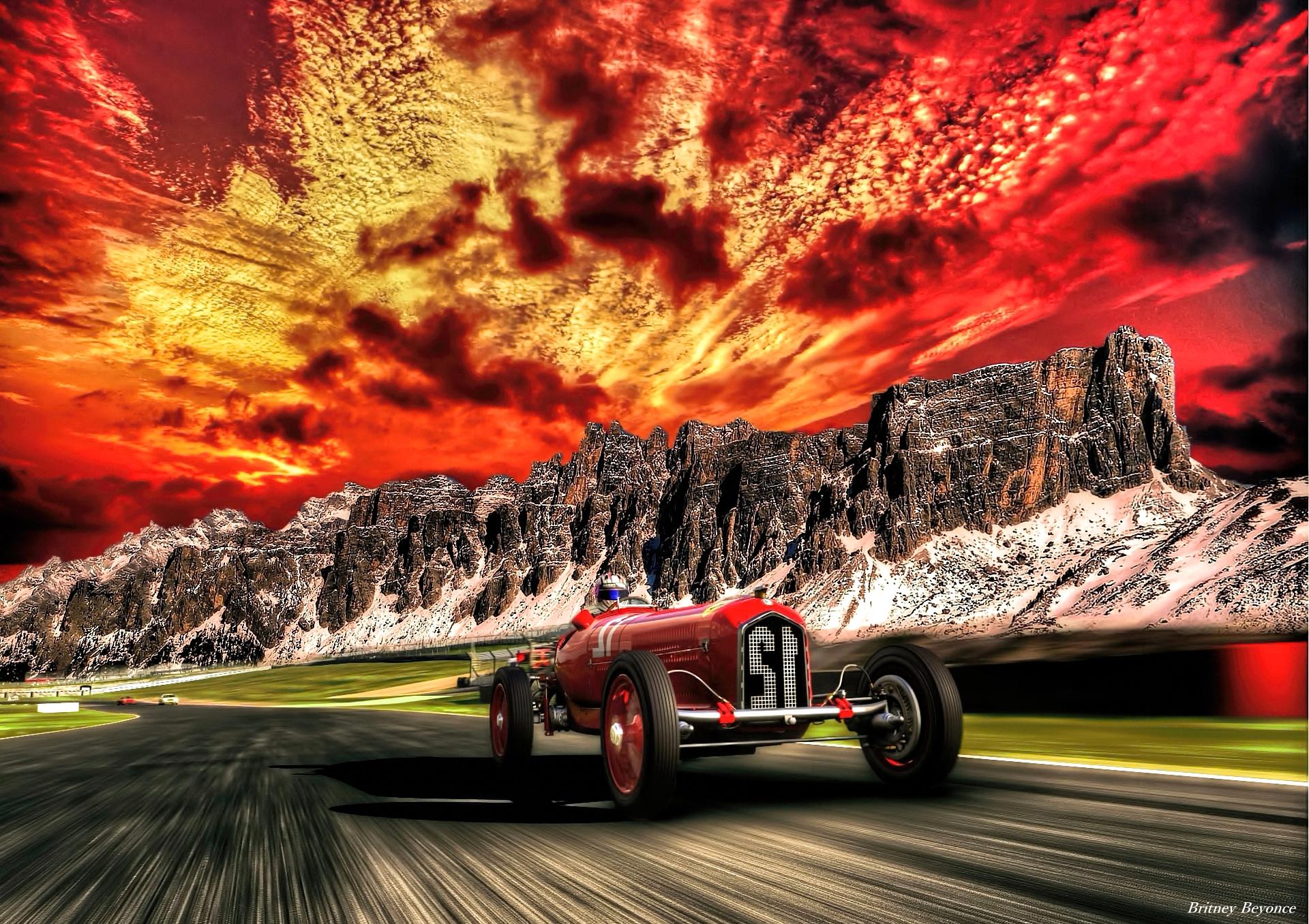 Fond d 39 cran paysage photoshop italie voiture for Papier peint ecran