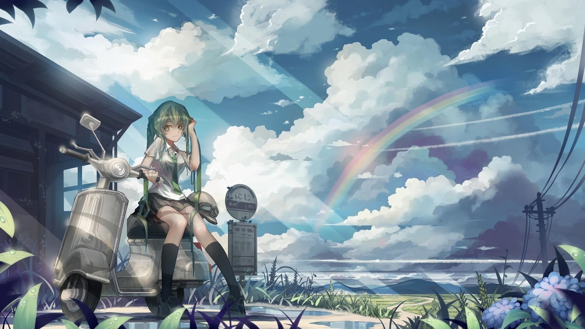 デスクトップ壁紙 風景 アニメの女の子 空 オートバイ 雲 太陽