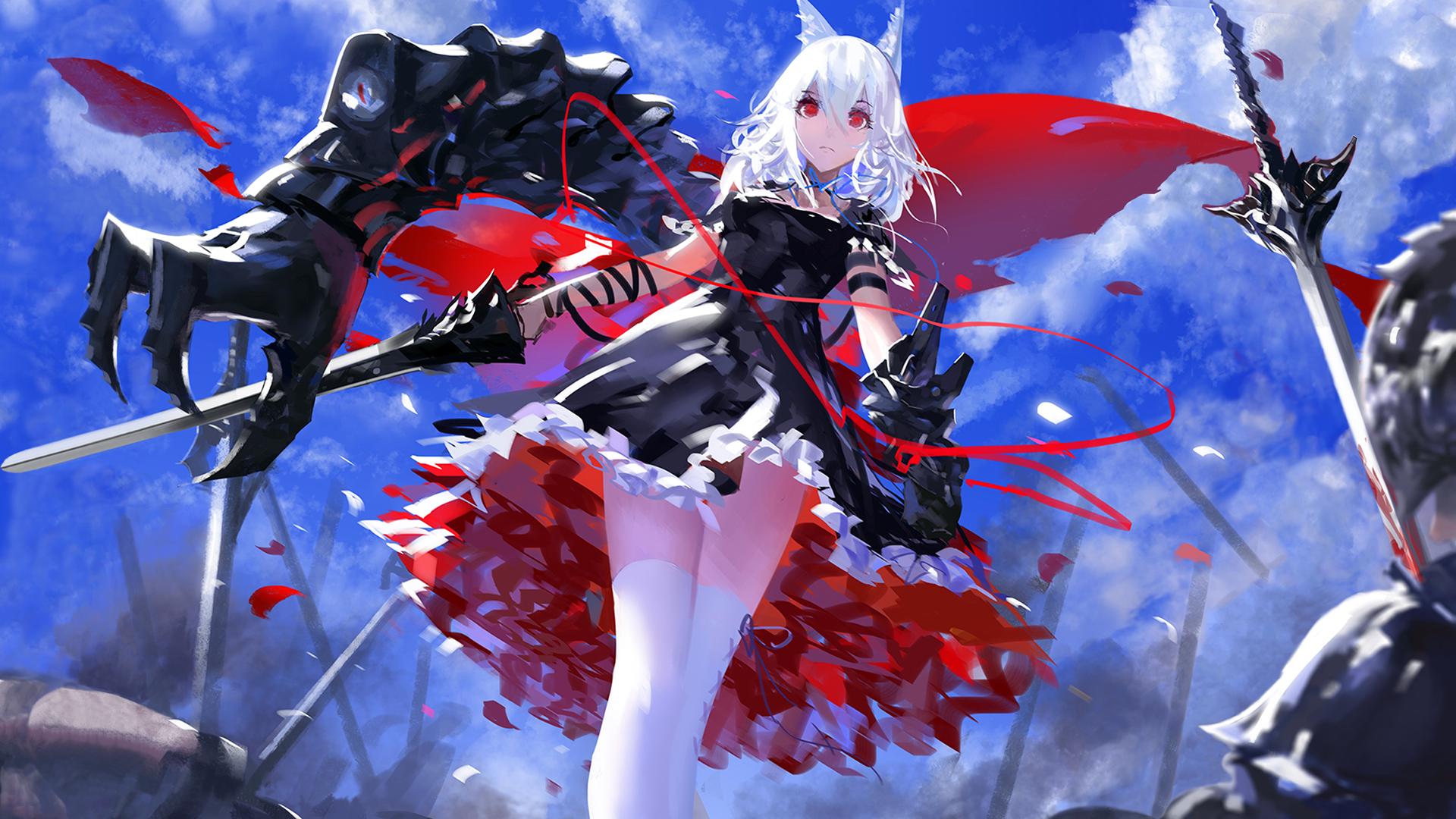 Landscape anime anime girls snow winter battle demon flower season