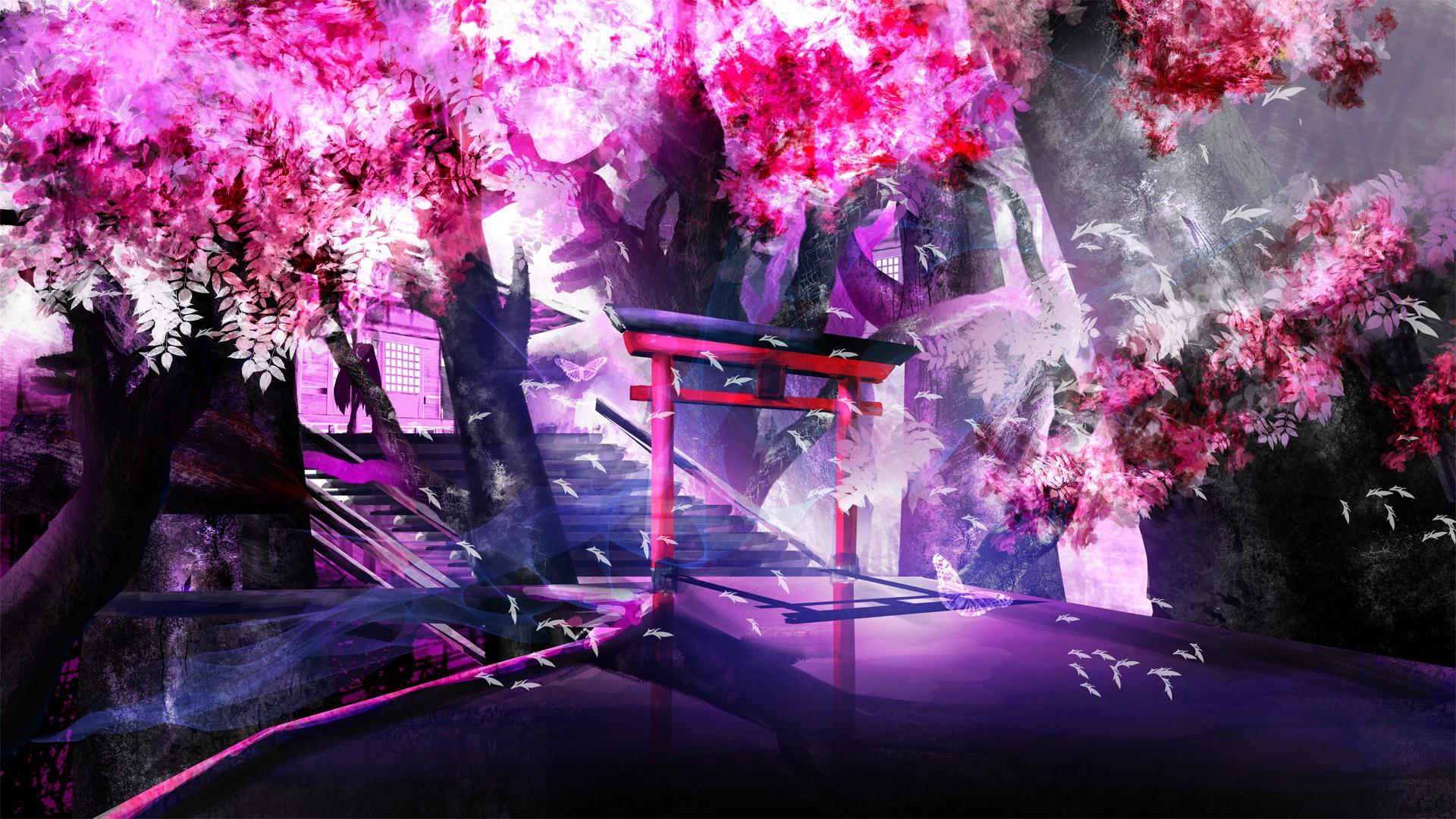 Wallpaper Landscape Anime Purple Violet Branch World Blossom