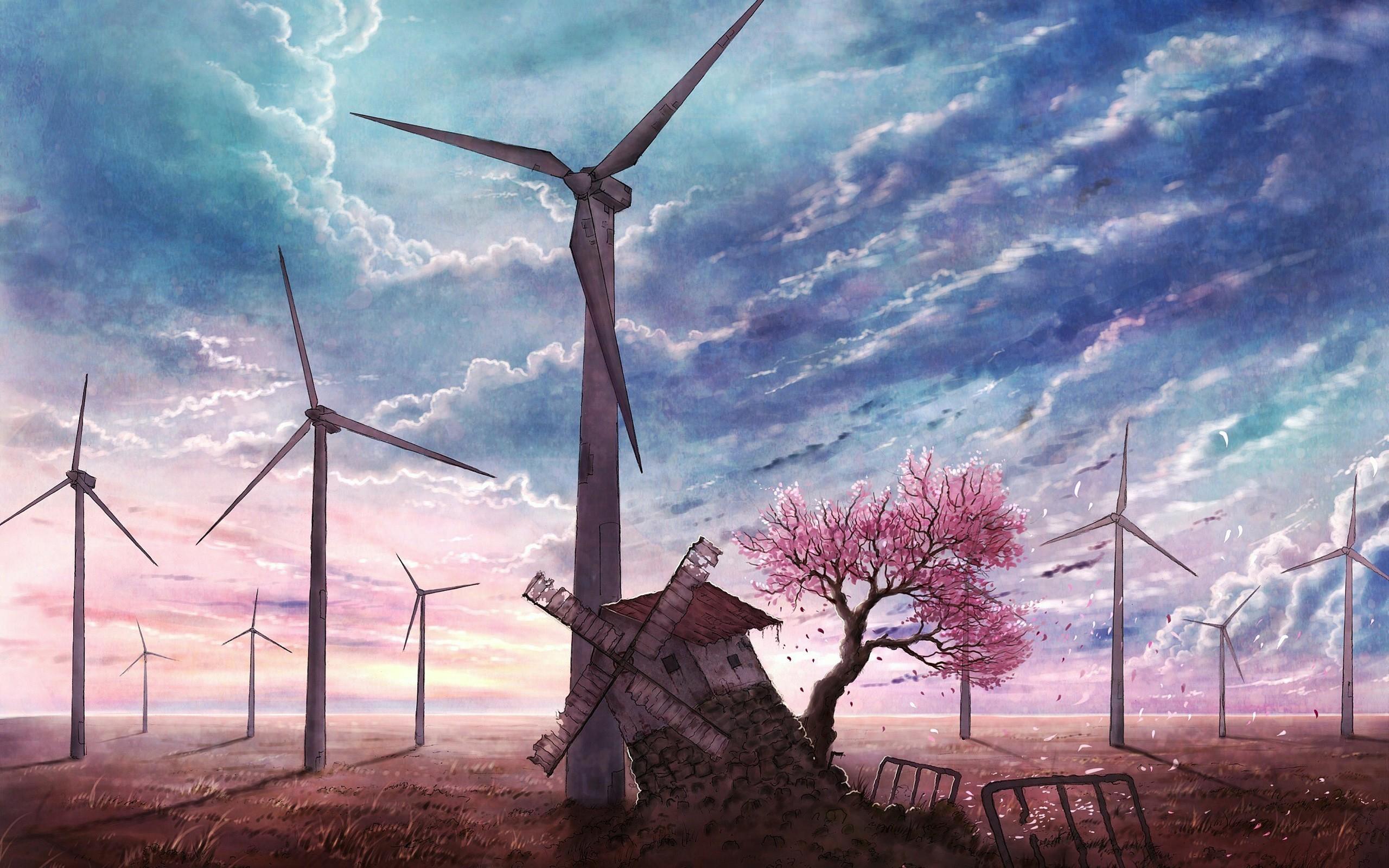 fond d'ecran anime eolienne