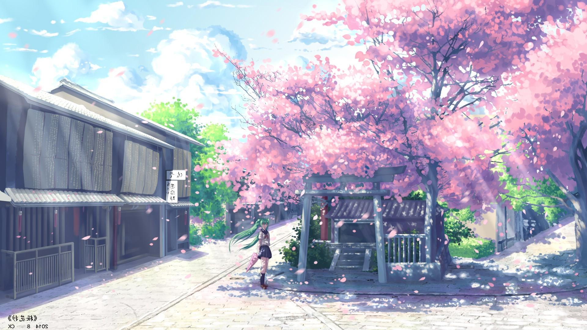 Wallpaper Landscape Anime Sky Winter Branch House Vocaloid