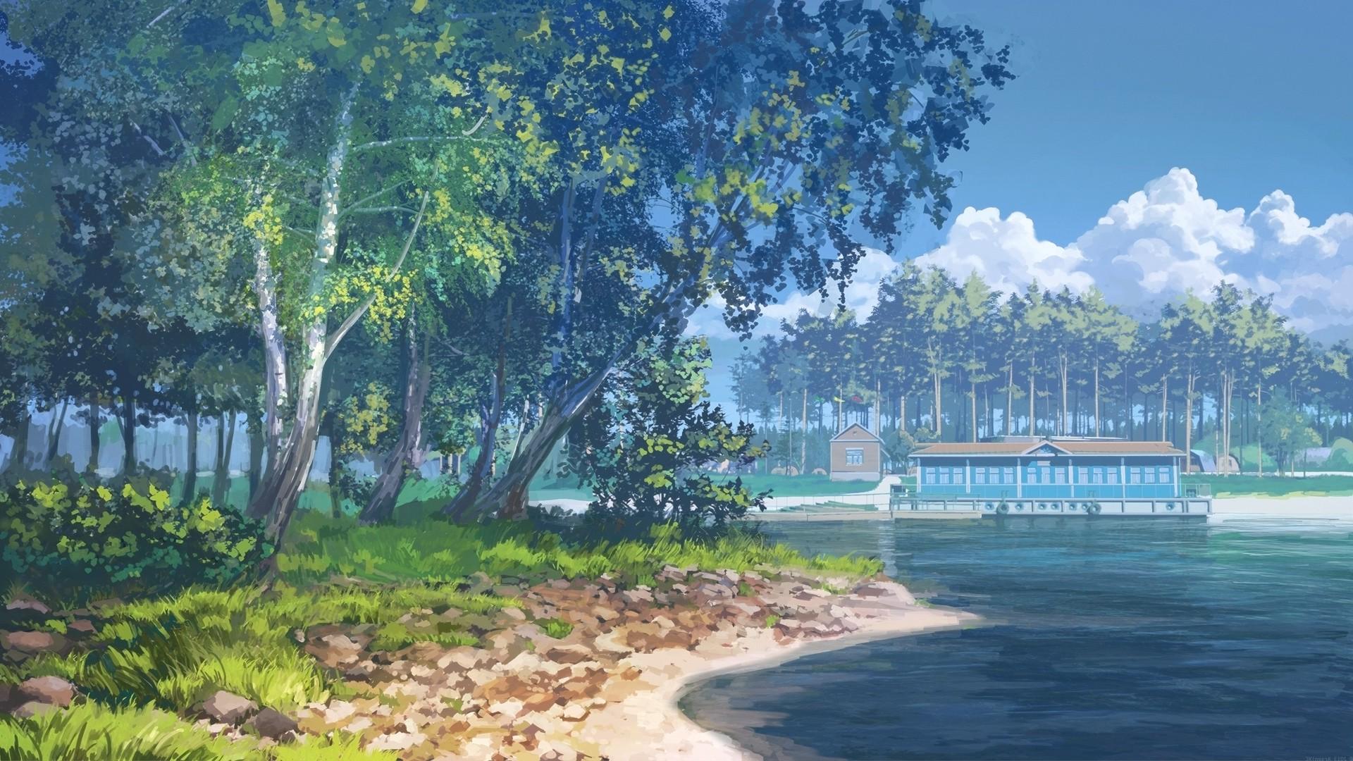 Landscape Bay Anime Lake Water Nature Shore Reflection Sky River Bank Reserve Wetland Tree Plant