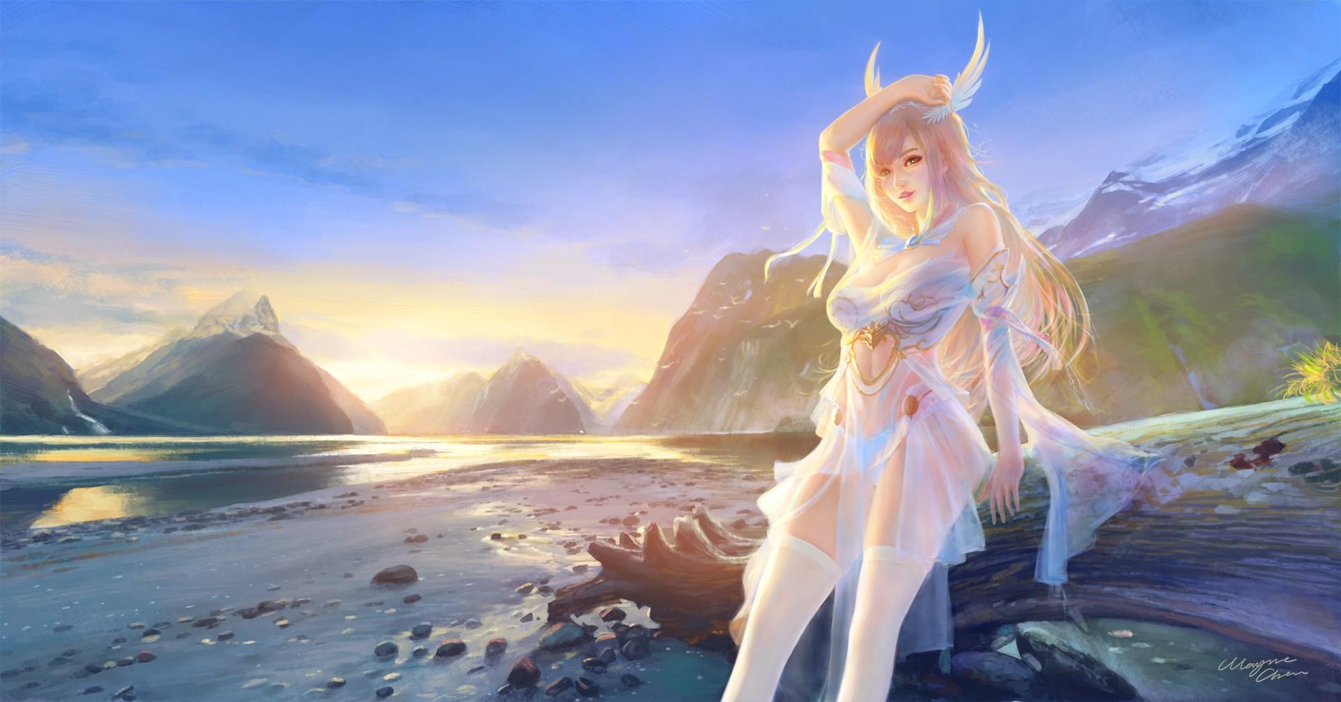 Fond D Ecran Paysage Blond Cheveux Longs Anime Filles