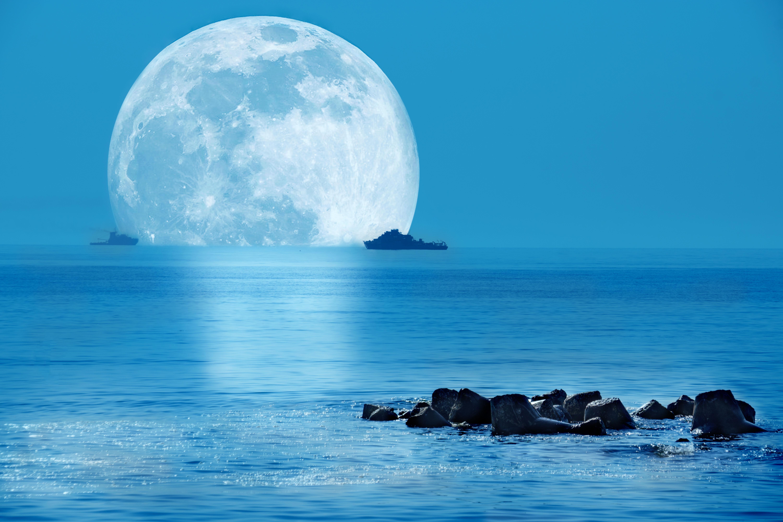 Красивые открытки море и луна, для