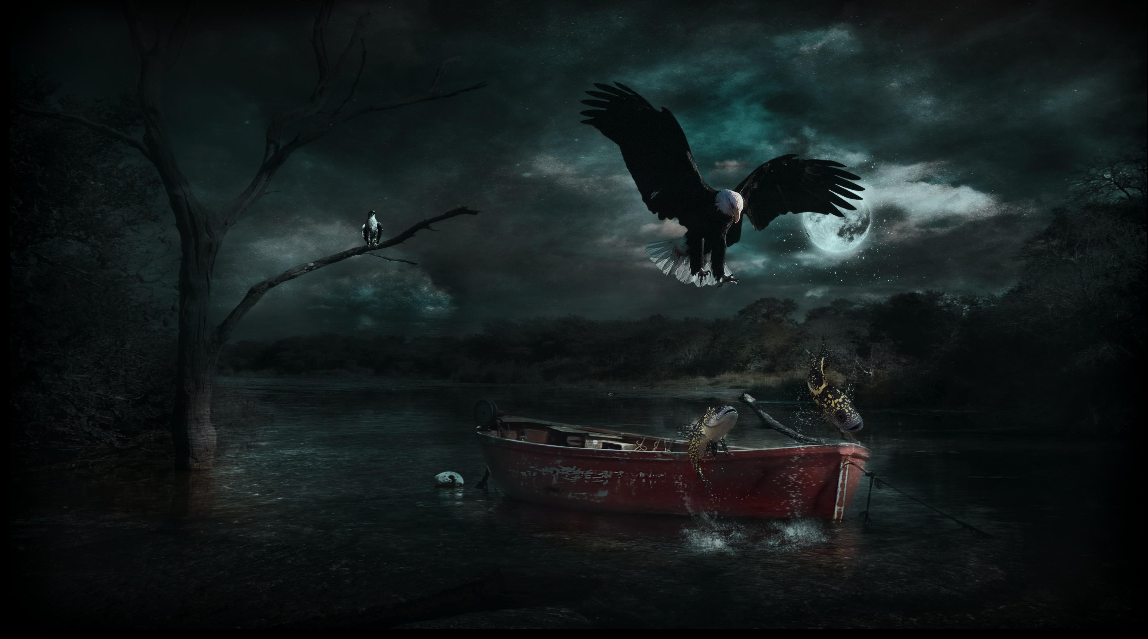 Wallpaper Landscape Boat Nature Photo Manipulation Moonlight