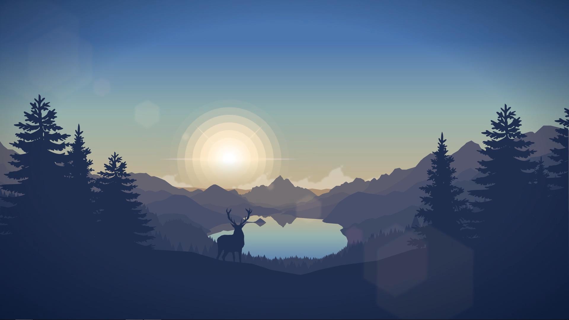 landscape deer Sun pine trees mountains Firewatch