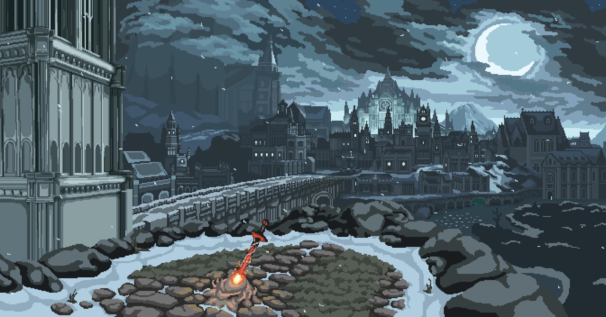 Wallpaper Landscape Digital Art Video Games Night Pixel Art