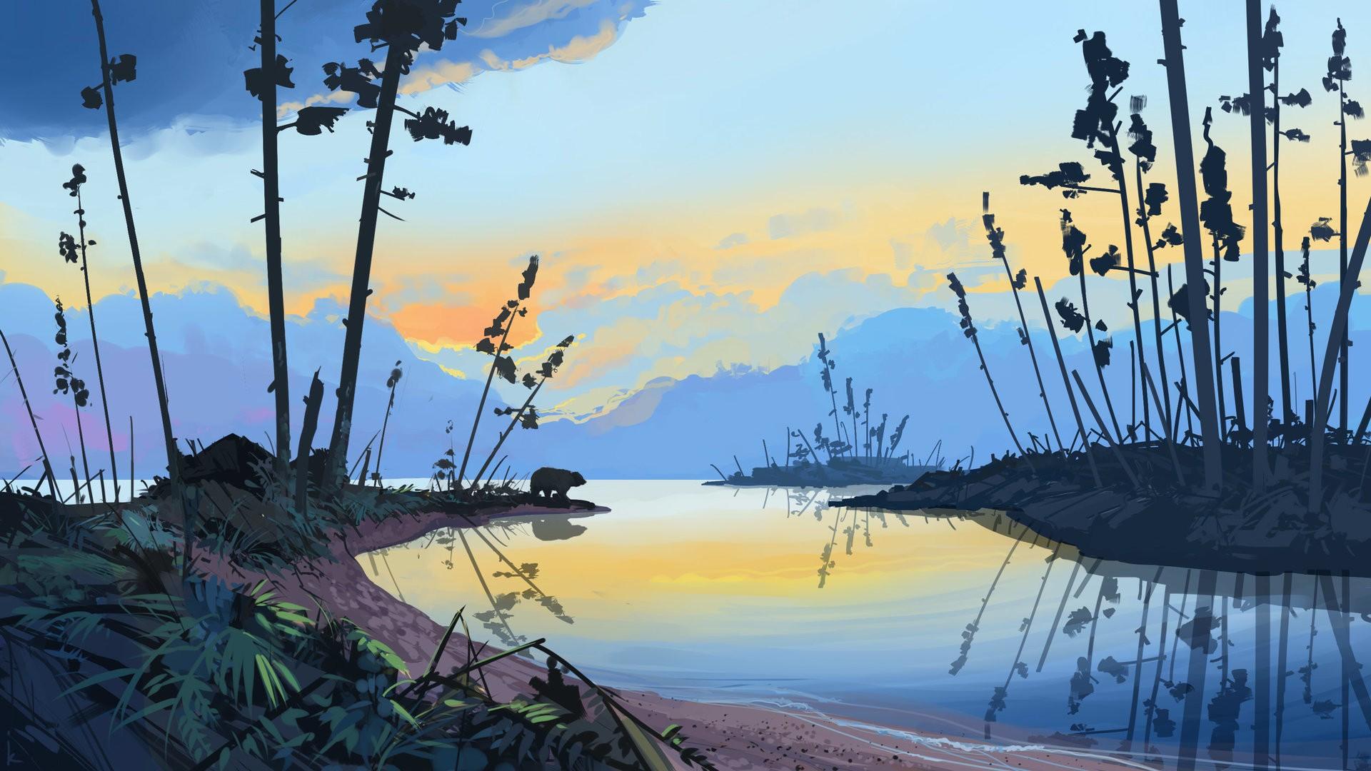 Wallpaper : landscape, drawing, forest, illustration ...