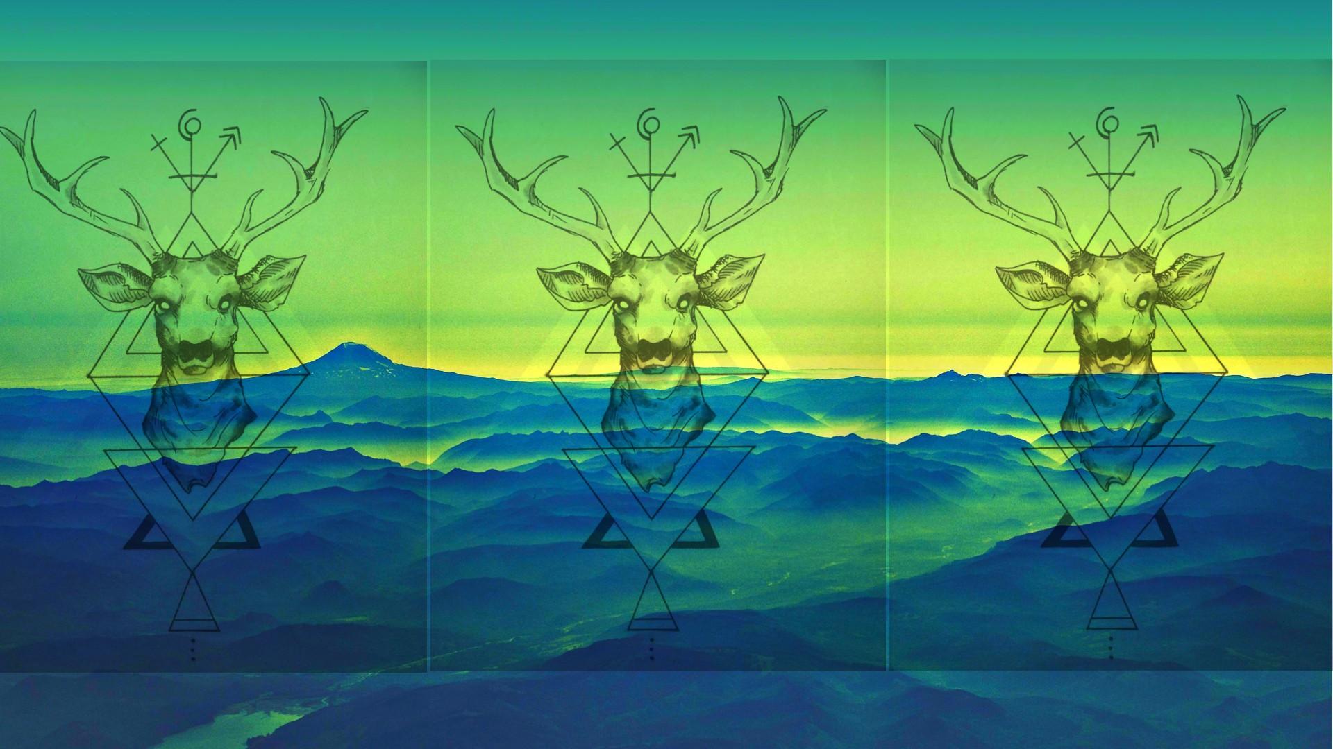 Wallpaper Pemandangan Gambar Ilustrasi Pegunungan Rusa Seni