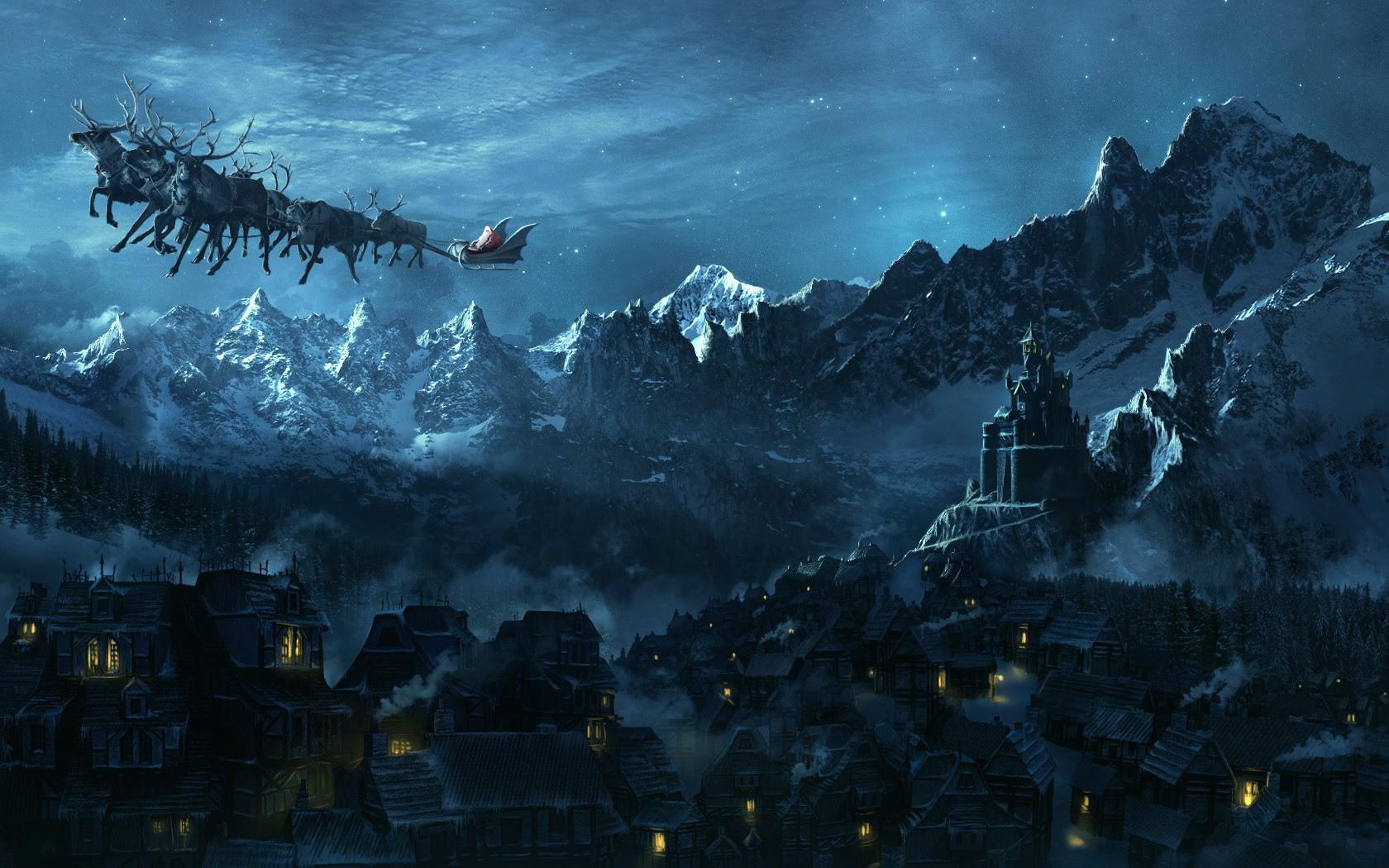 Must see Wallpaper Night Ghost - landscape-fantasy-art-night-village-castle-Christmas-Santa-Claus-midnight-ghost-ship-darkness-screenshot-computer-wallpaper-229731  Image-495218.jpg