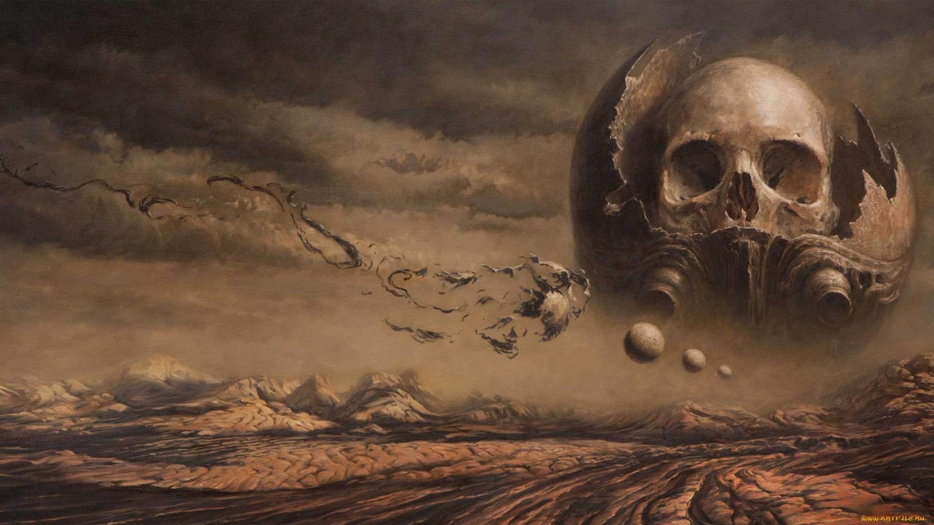 Landscape Fantasy Art Sky Artwork Dark Skull Mythology Darkness Screenshot Computer Wallpaper