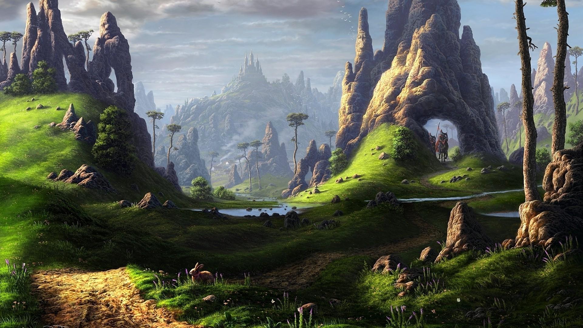 Wallpaper : landscape, fantasy art, grass, sky, national ...