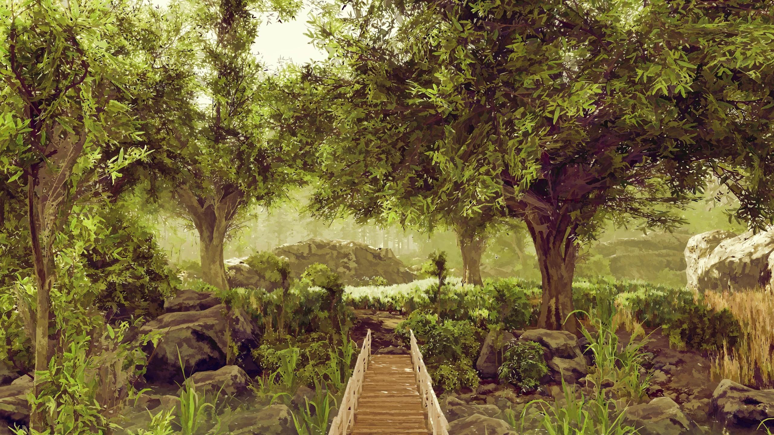 Wallpaper : landscape, forest, garden, nature, artwork, jungle ...