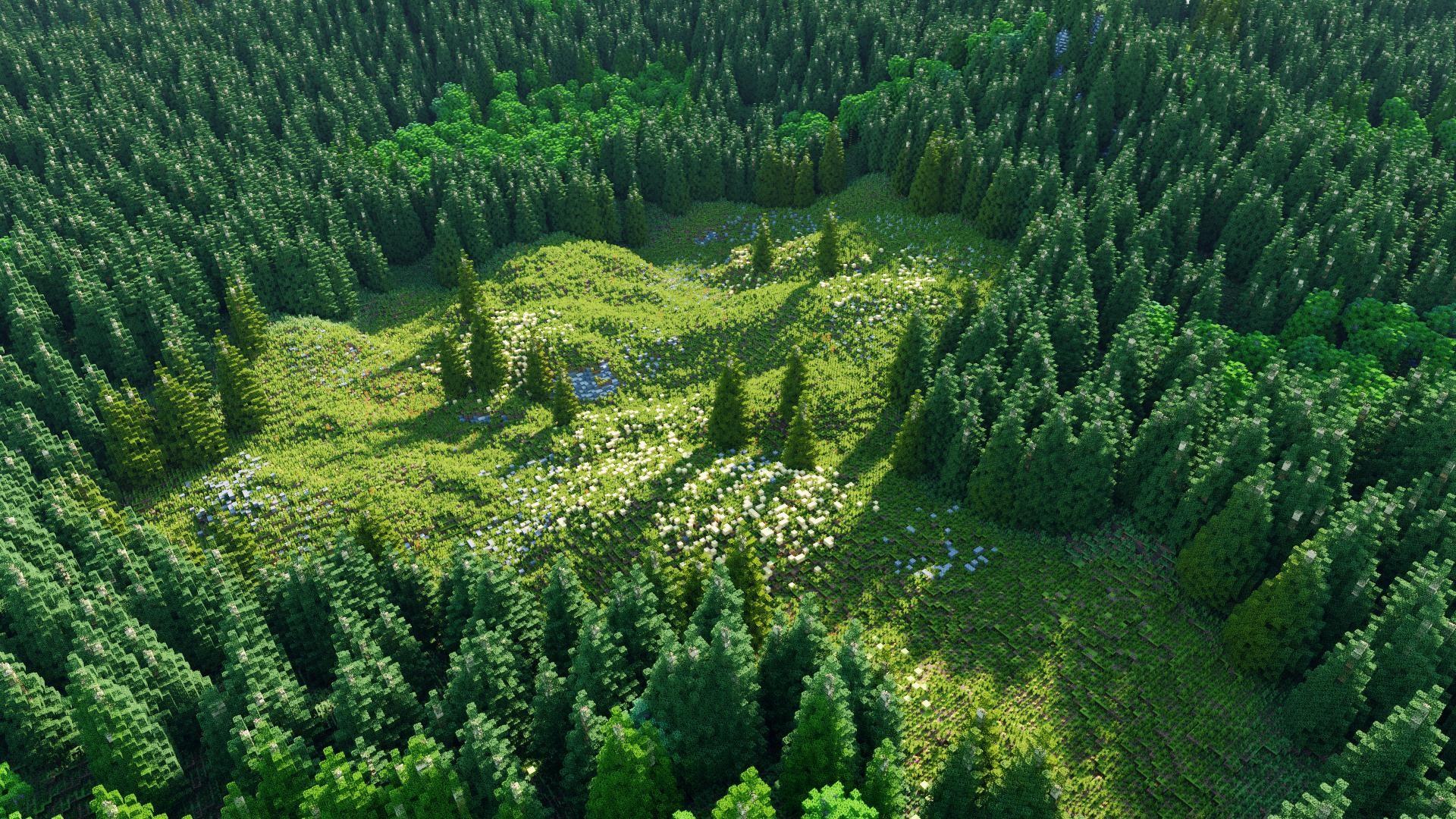 Wallpaper : landscape, grass, field, Minecraft, Chunky, green, national park, wilderness, bird's eye view, mount scenery, rainforest, conifer, ...