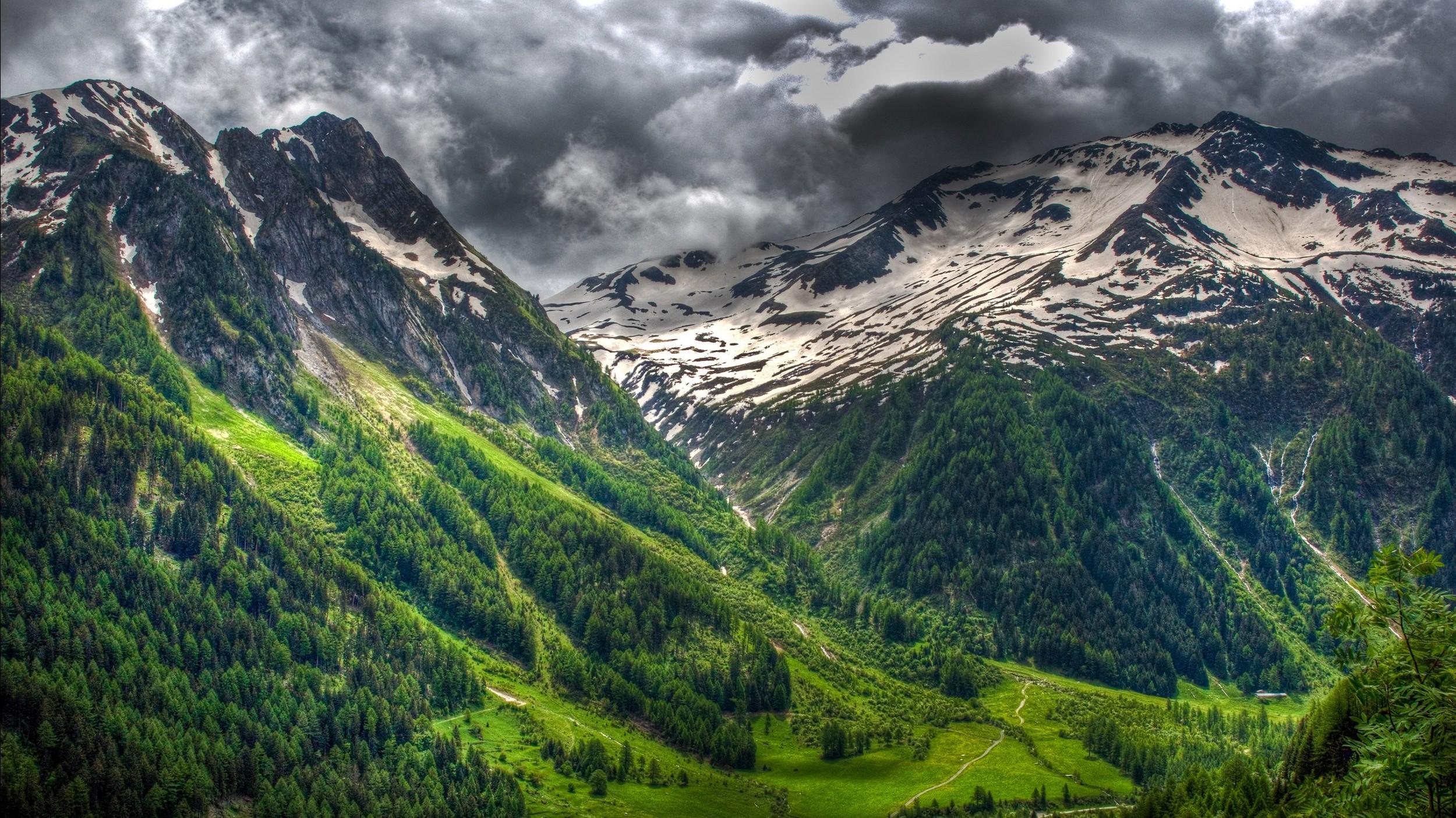 Wallpaper : landscape, forest, hill, lake, nature, clouds, green, snowy  peak, valley, mountain pass, wilderness, spring, Swiss Alps, plateau,  ridge, cloud, ...