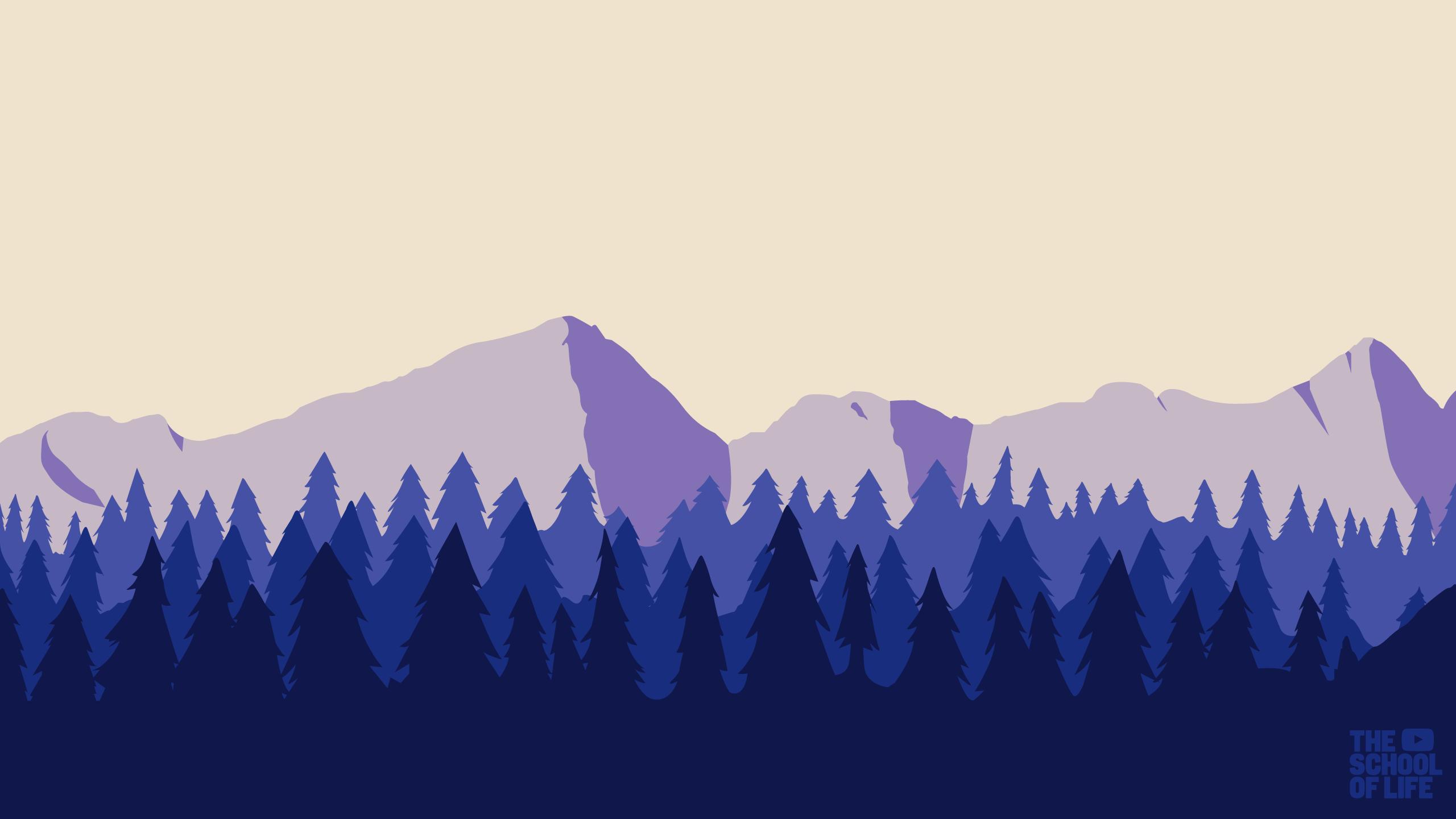 Masaüstü Manzara Orman Illüstrasyon Dağlar Dijital Sanat