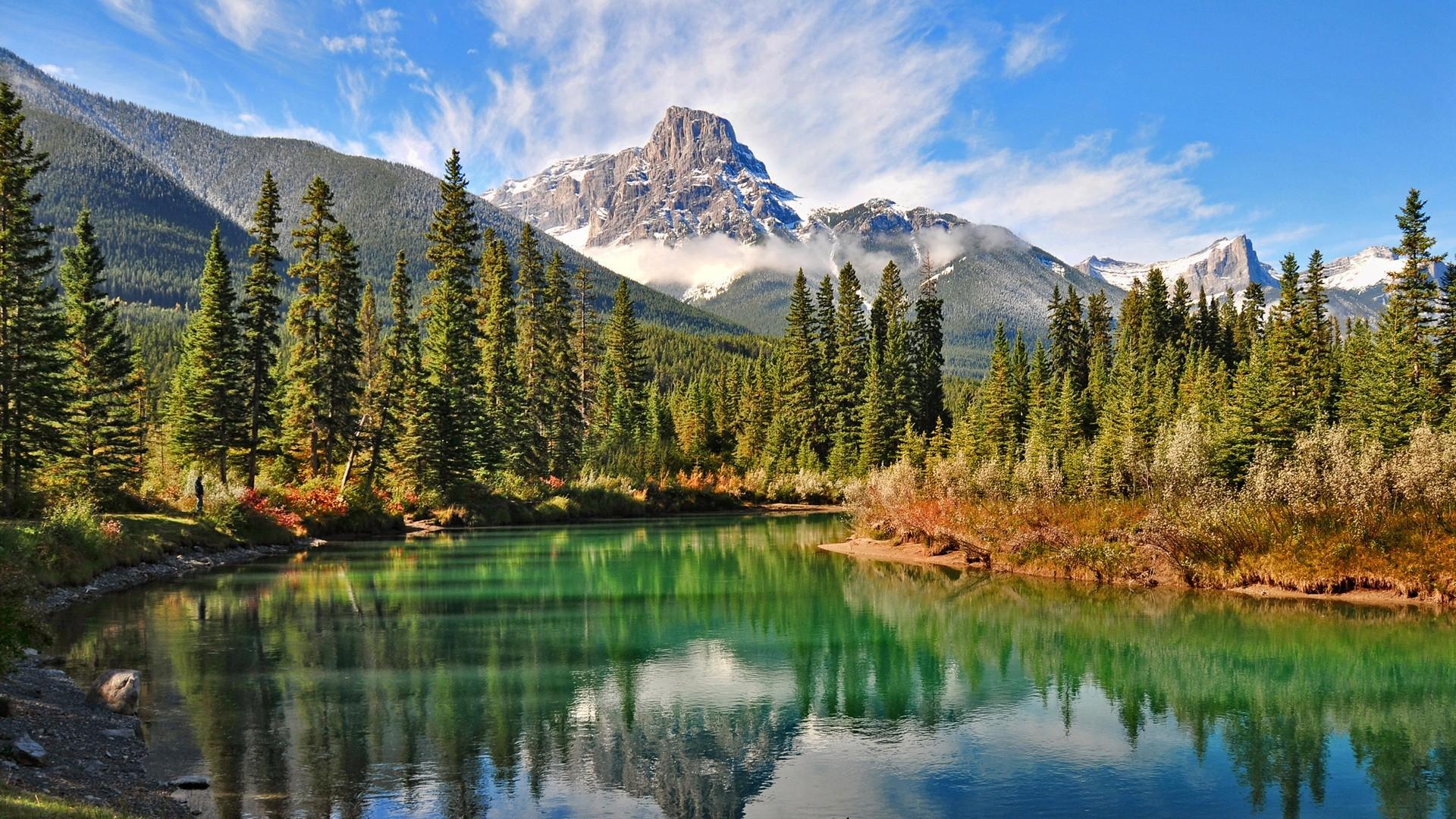 fond d 39 cran paysage for t montagnes lac eau la nature r flexion herbe des nuages. Black Bedroom Furniture Sets. Home Design Ideas