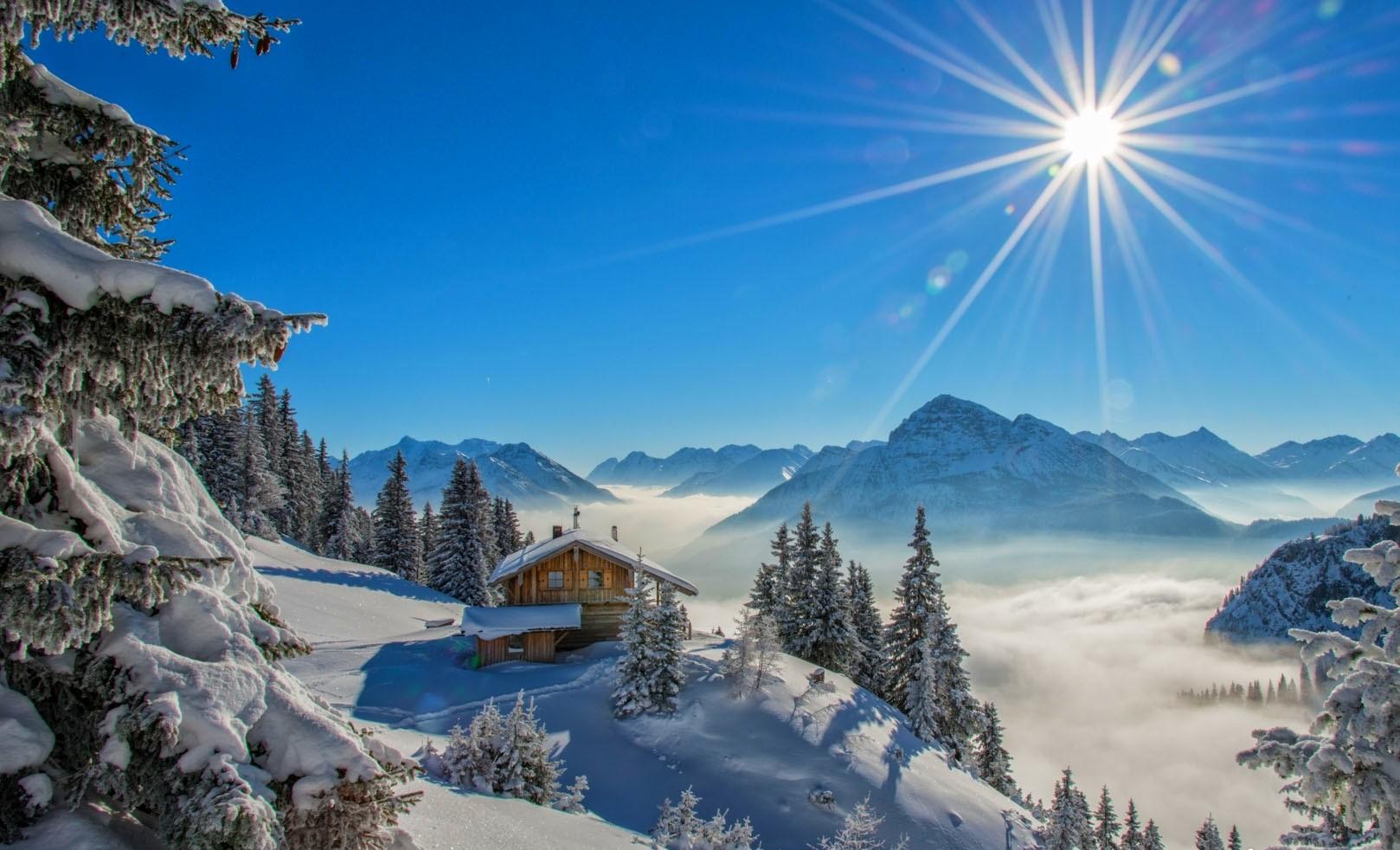 fond d 39 cran paysage for t montagnes la nature neige hiver bleu pic enneig rayons de. Black Bedroom Furniture Sets. Home Design Ideas