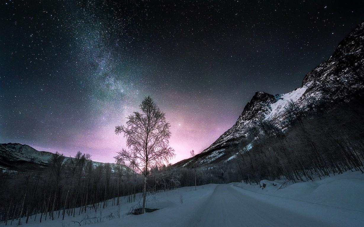 Fond d'écran : paysage, forêt, Montagnes, la nature, neige, hiver, route, longue exposition ...