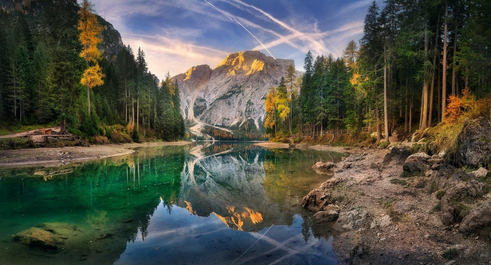 Fond d'écran : paysage, forêt, Montagnes, cascade, le coucher du soleil, Italie, Lac, eau, la ...