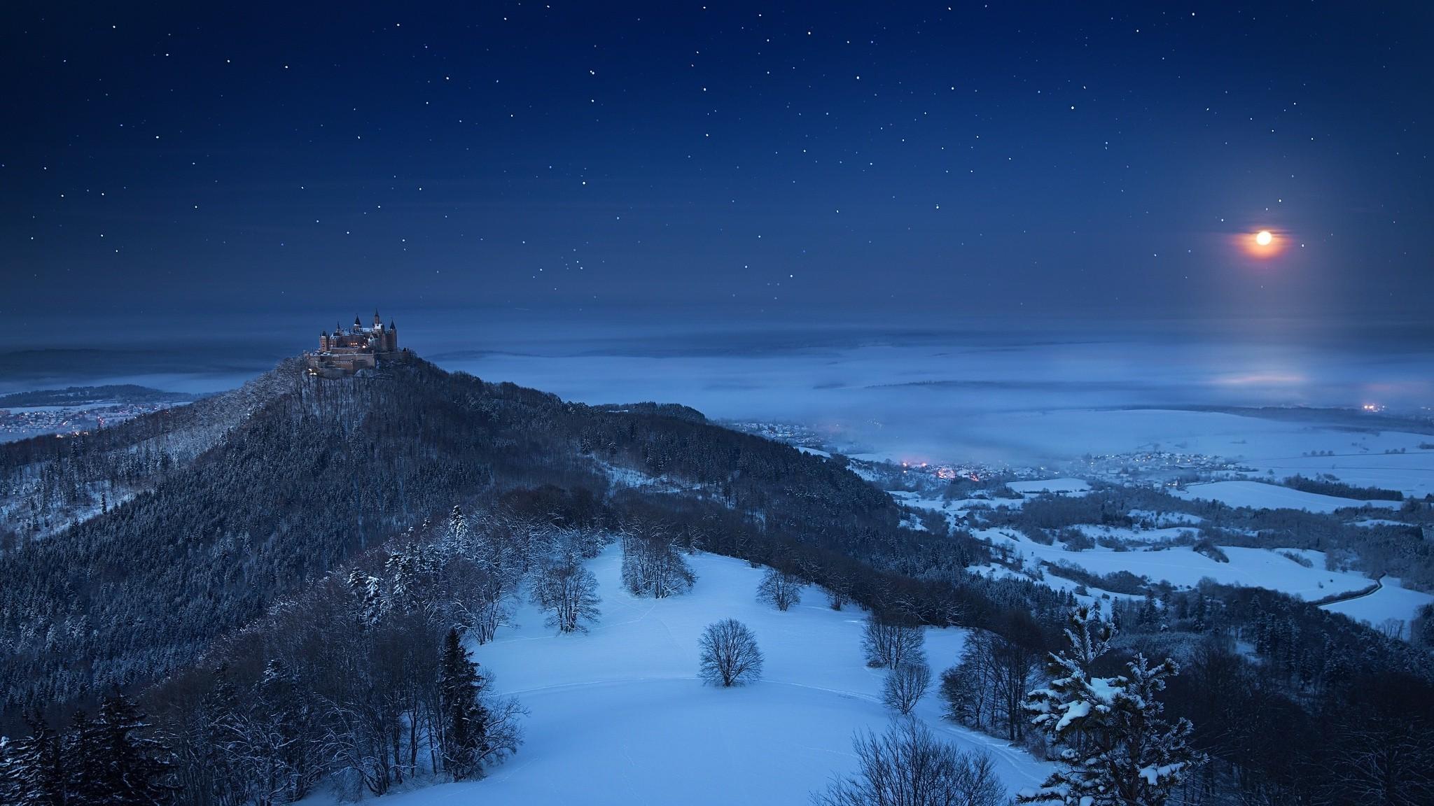 Wallpaper Landscape Forest Nature Snow Winter Moon Castle
