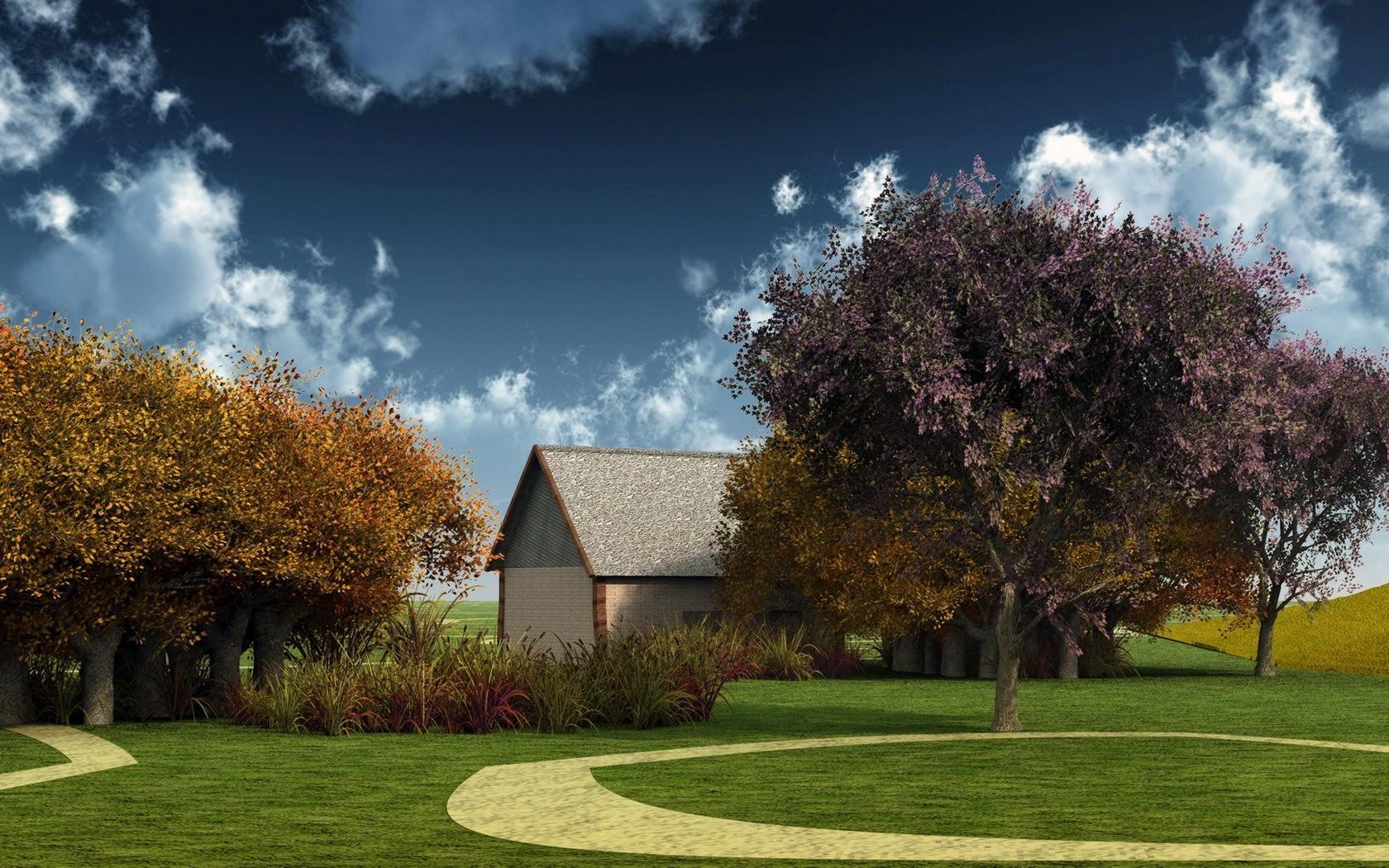 landschaft garten gras haus hinterhof immobilien baum herbst blume pflanze zuhause vorort rasen 1680x1050 px holzige - Hinterhof Landschaften Bilder