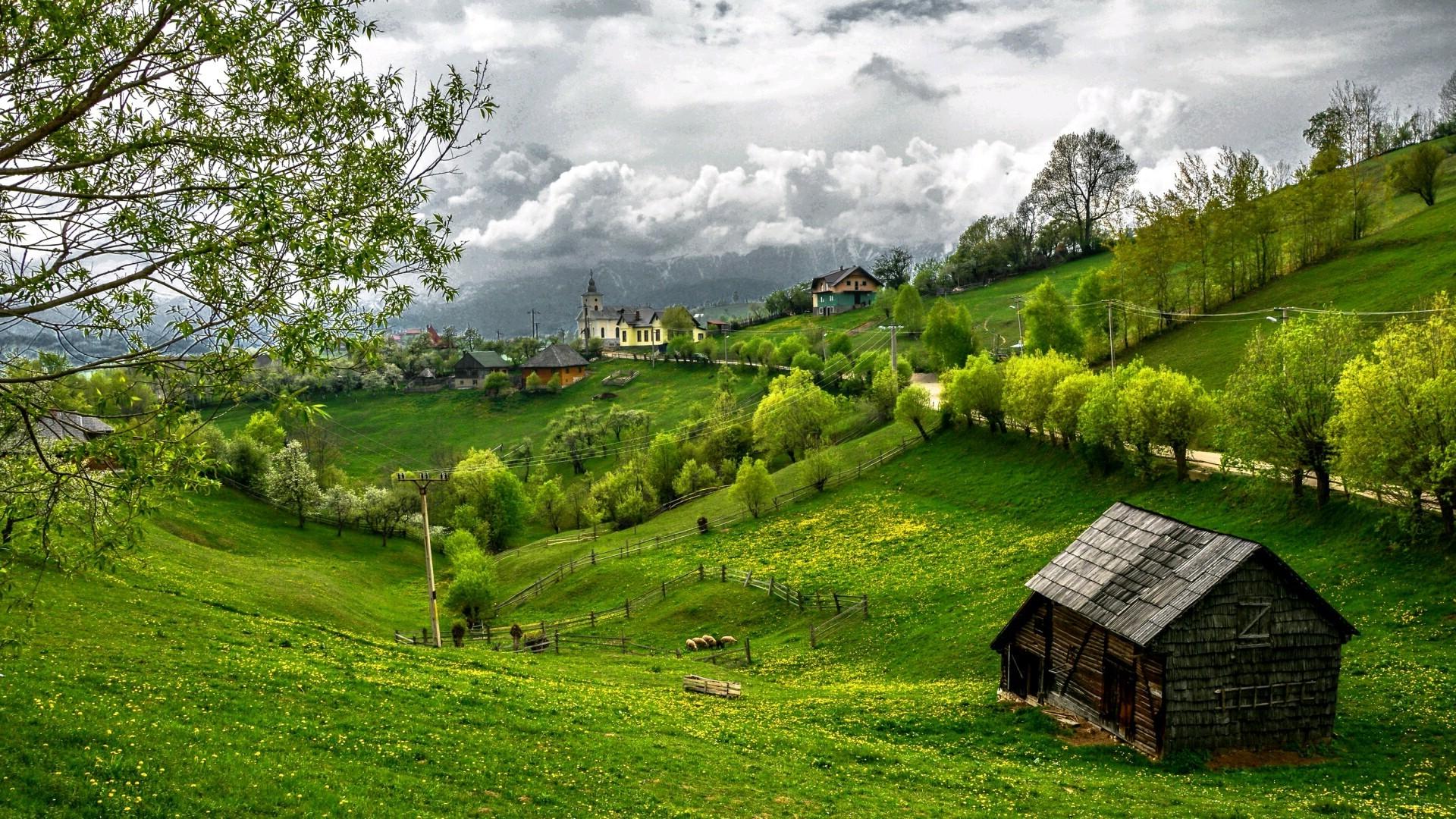 Wallpaper : Landscape, Hill, Nature, Field, Green, Village
