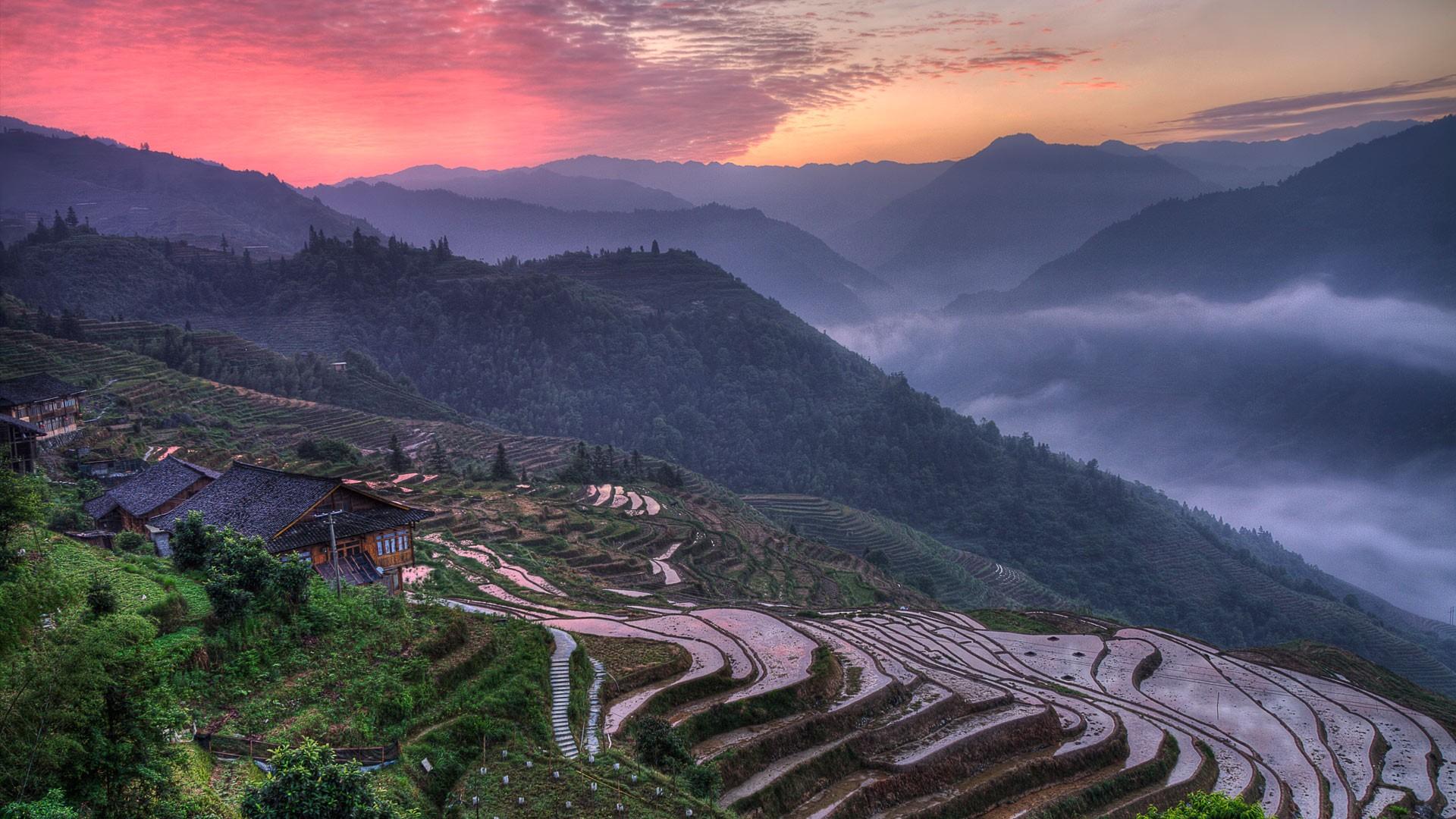 Wallpaper : pemandangan, pagi, lembah, gurun, sawah