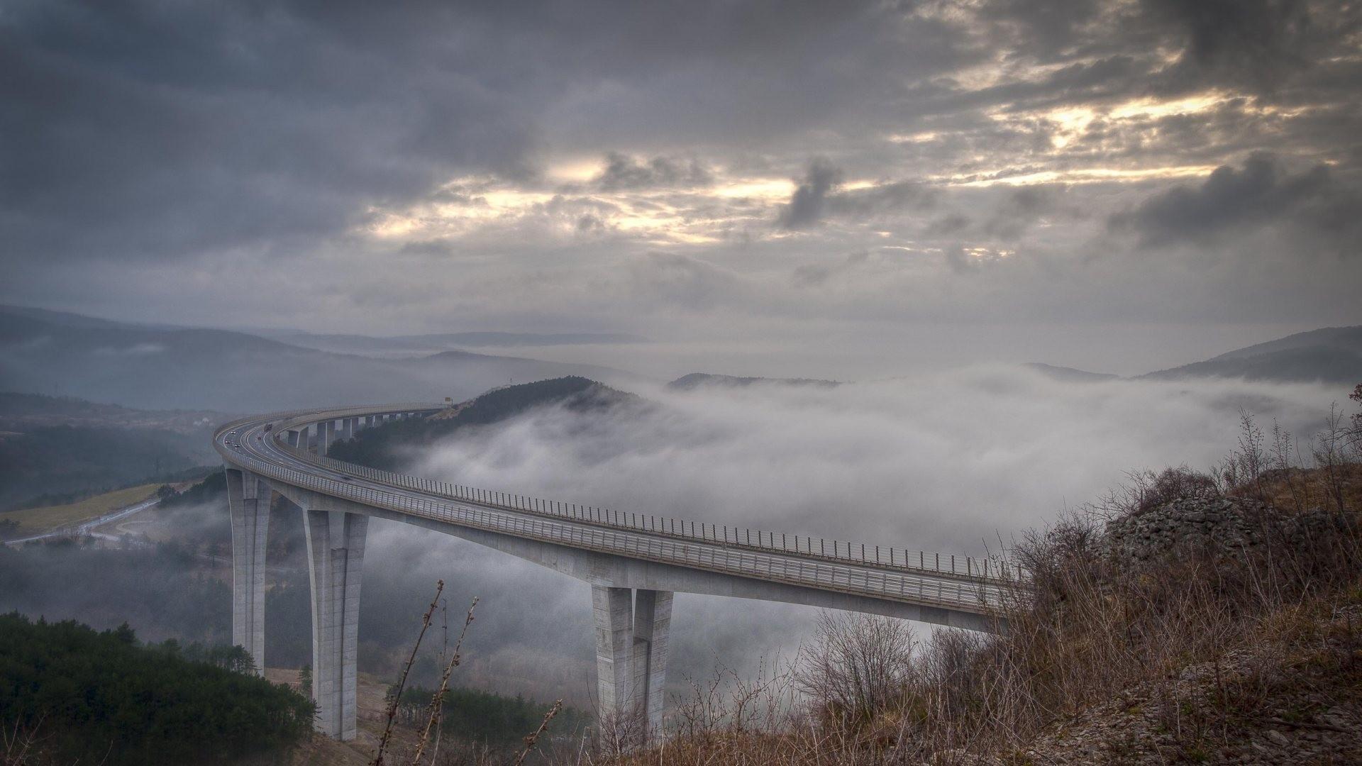 Wallpaper landscape hill sky road clouds hills evening morning mist bridge river - Highland park wallpaper ...