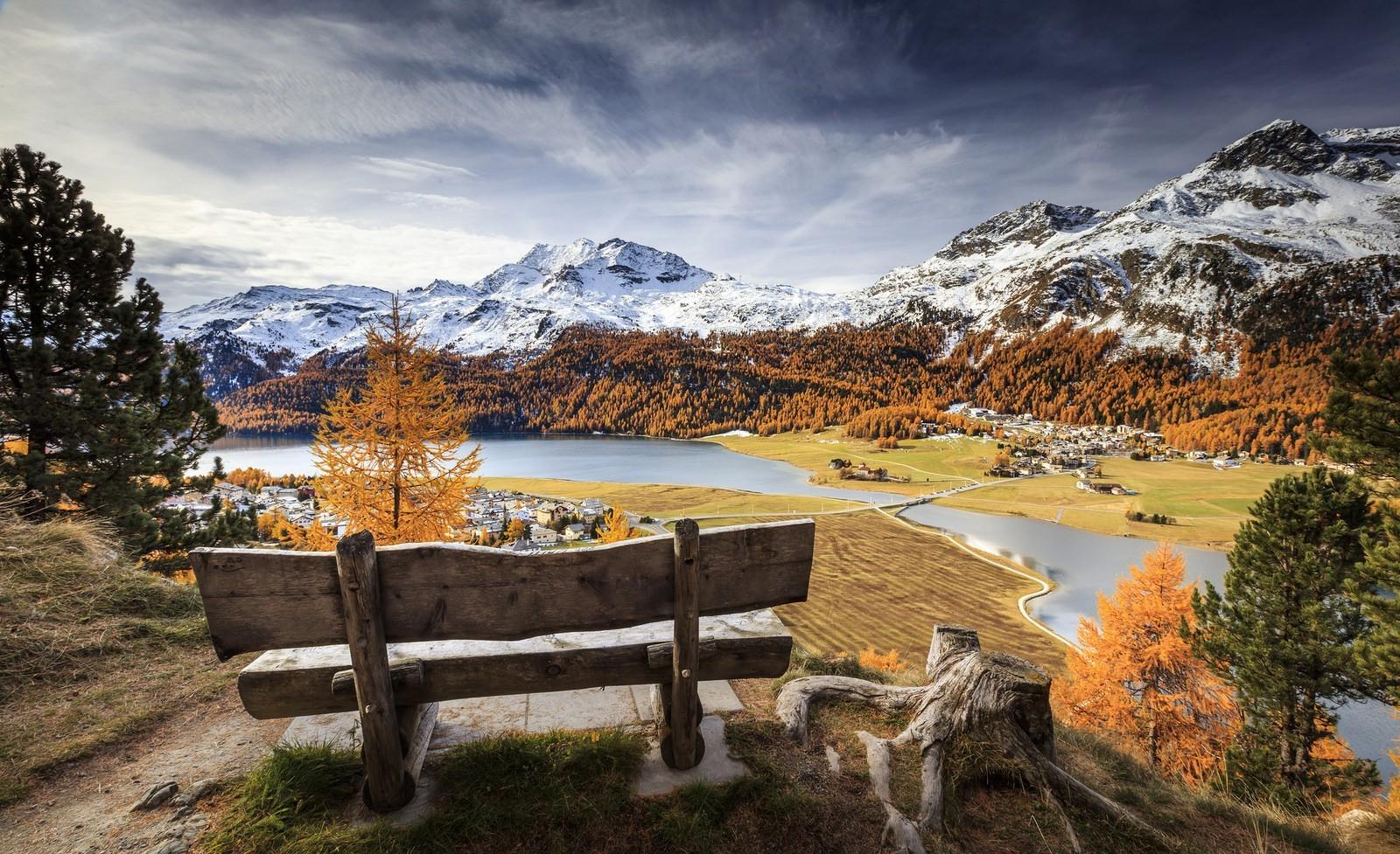 Fond d'écran : paysage, Lac, la nature, neige, hiver, banc, vallée, région sauvage, Alpes, arbre ...