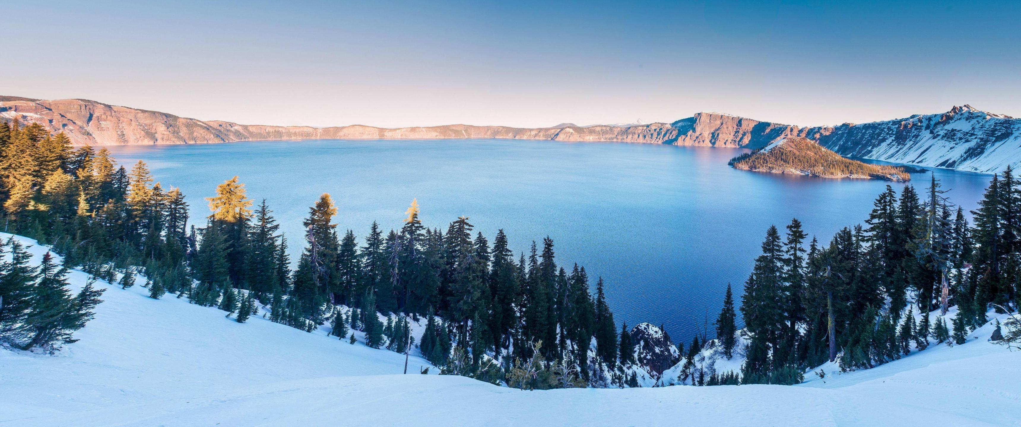 Fond d'écran : paysage, neige, hiver, Alpes, Lac cratère, Montagne, saison, 3440x1440 px, Relief ...