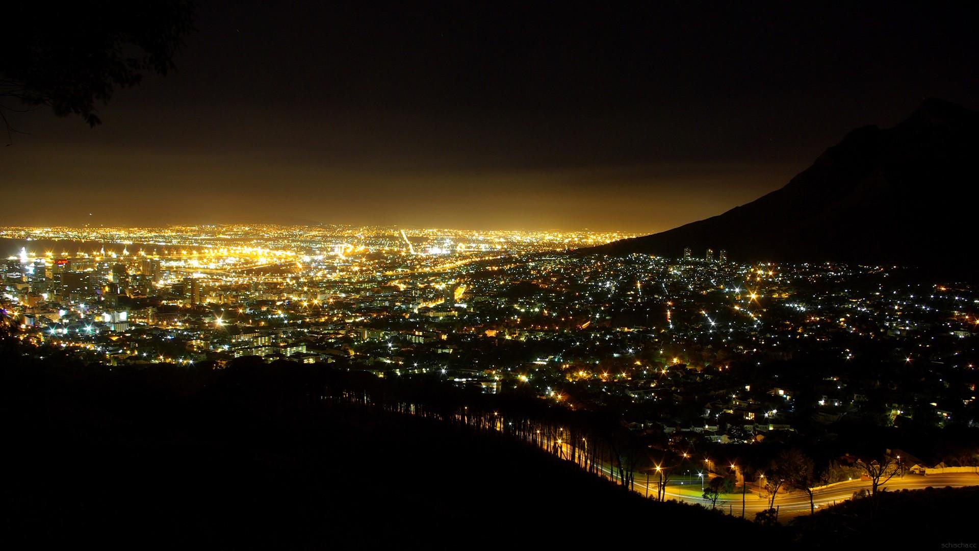Wallpaper Pemandangan Lampu Cityscape Kaki Langit Horison