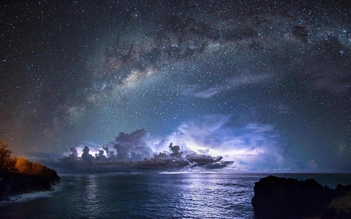 hintergrundbilder landschaft beleuchtung meer nacht galaxis natur platz. Black Bedroom Furniture Sets. Home Design Ideas