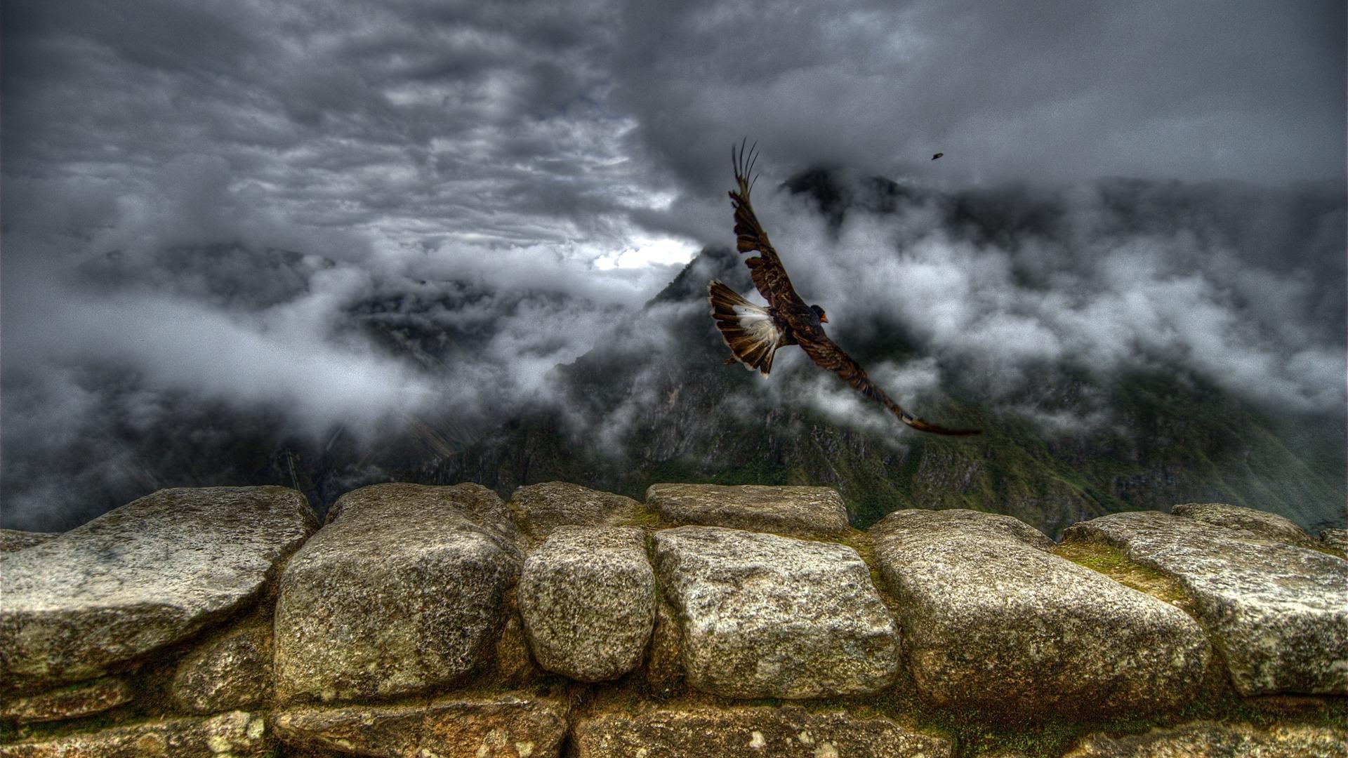 Landscape Mountains Birds Animals Rock Nature Stones Wall Clouds South America Peru Terrain Cloud Mountain