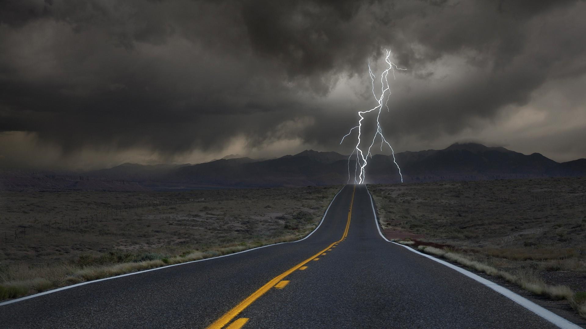 Landscape Mountains Dark Nature Grass Field Road Clouds Lightning Storm Hills Desert Wind Horizon Valley Fence