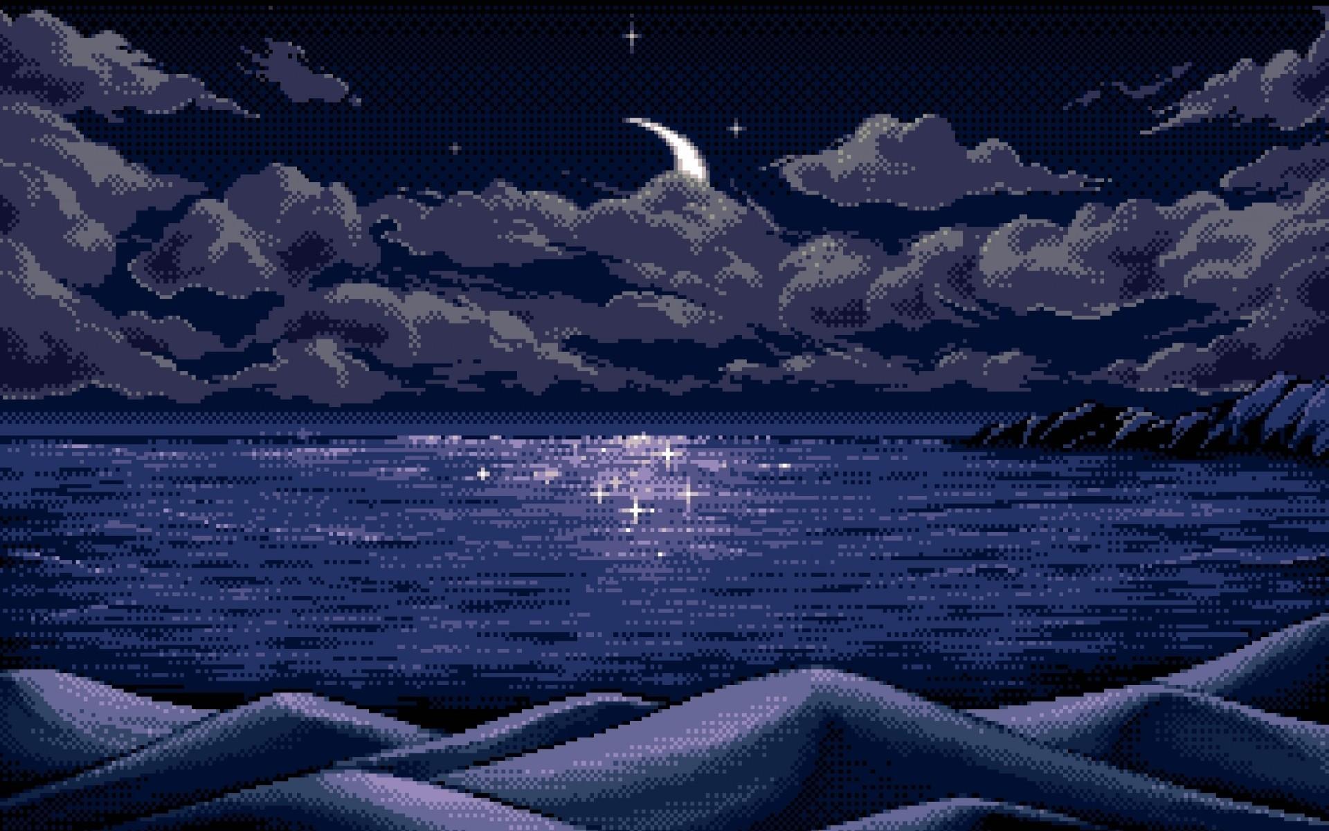 Wallpaper : landscape, mountains, digital art, sea, night