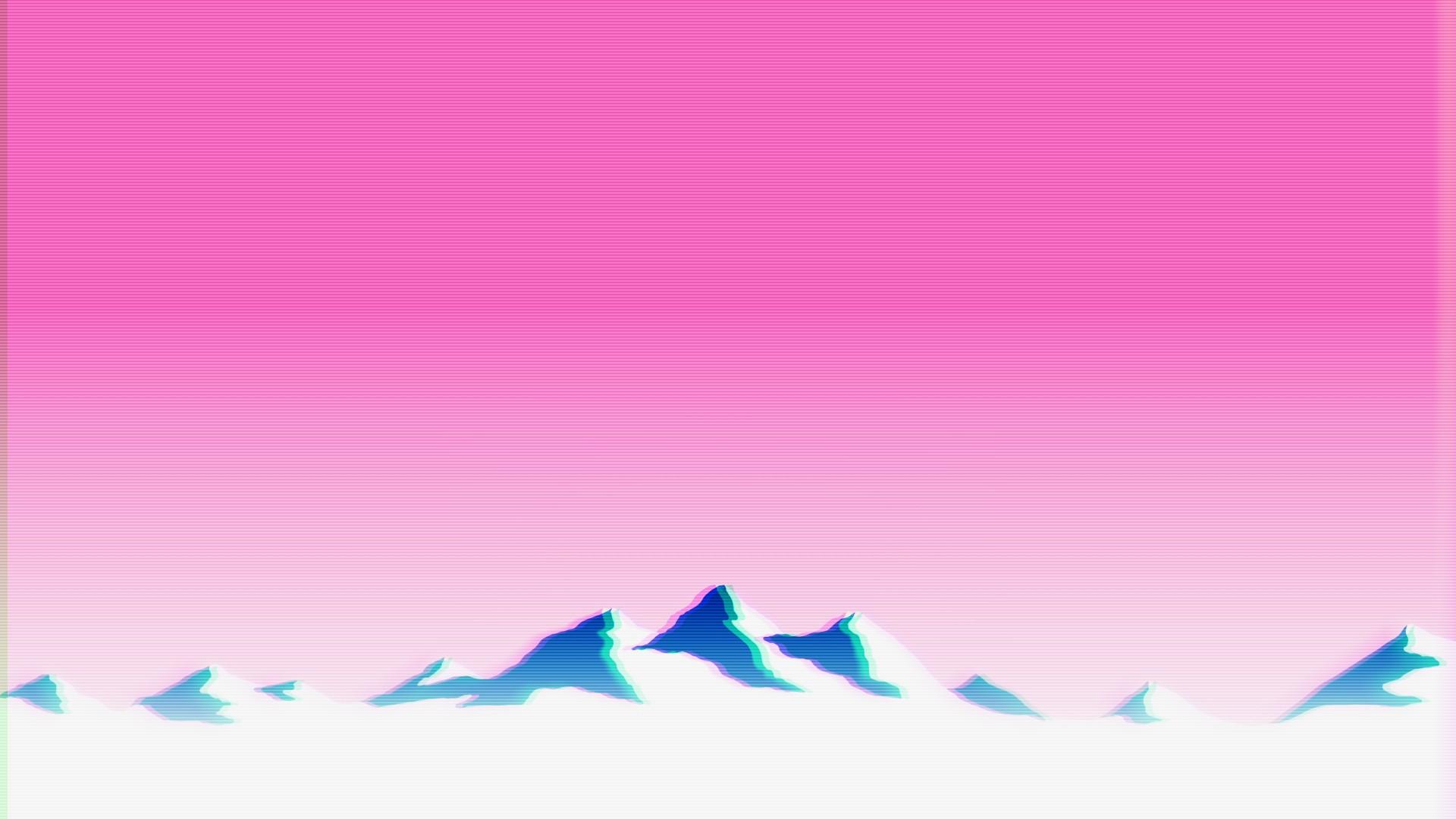 wallpaper landscape mountains glitch art text vaporwave color