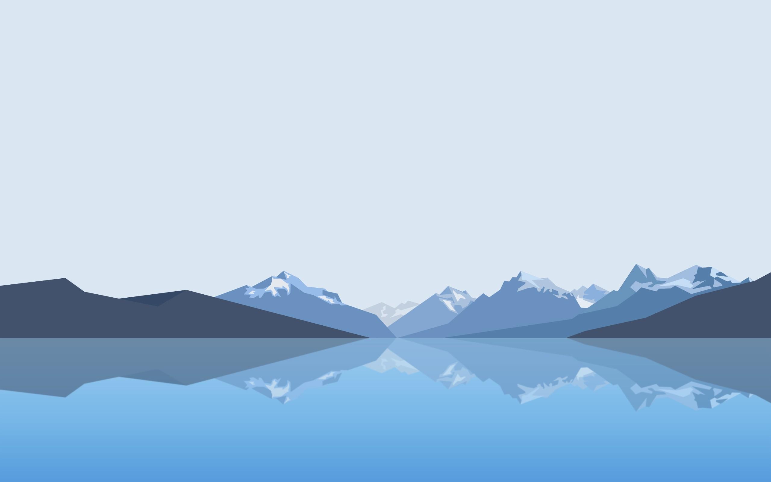 Wallpaper Landscape Mountains Lake Minimalism