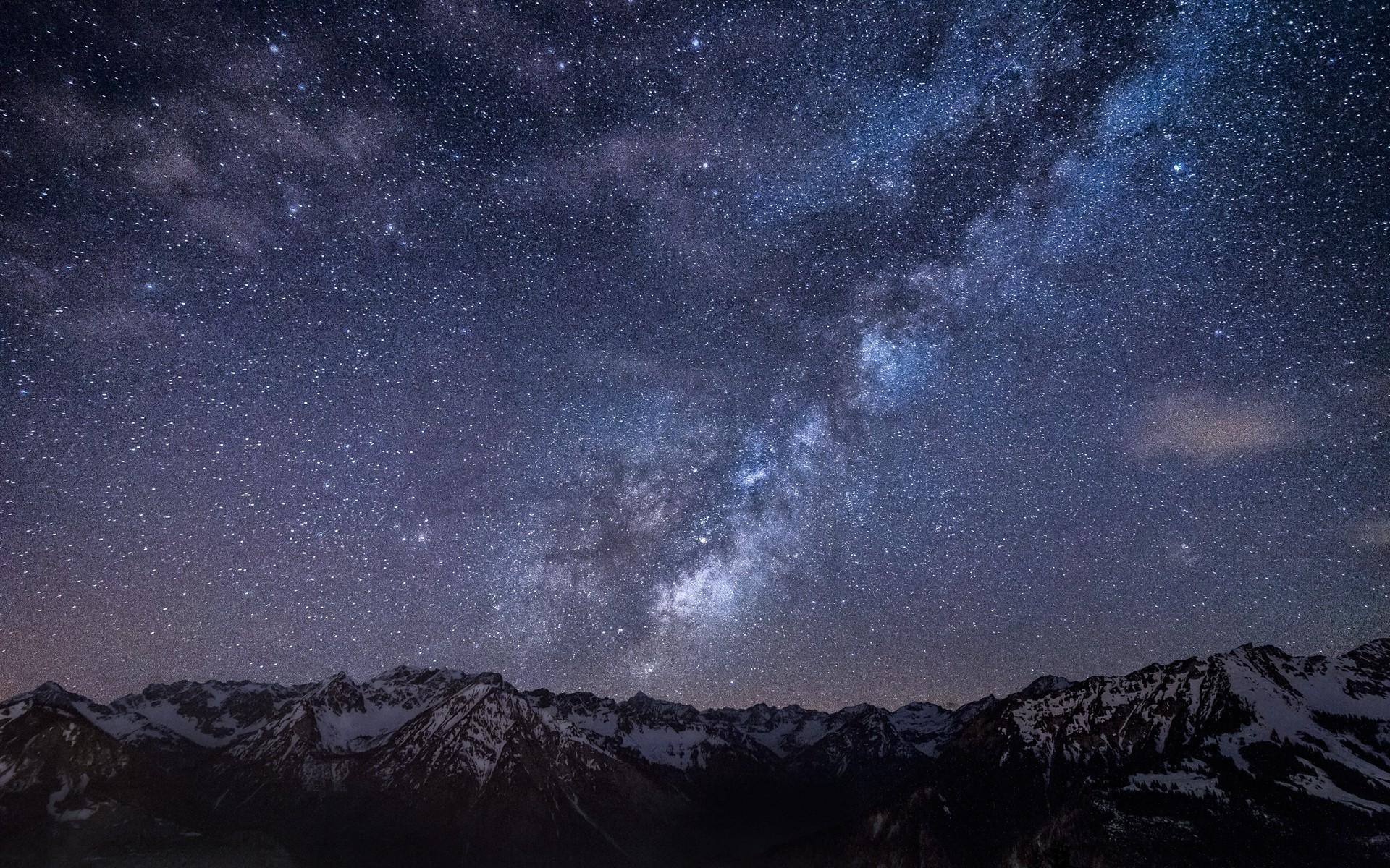 Fond d'écran : paysage, Montagnes, galaxie, ciel, longue exposition, étoiles, voie Lactée, nuit ...